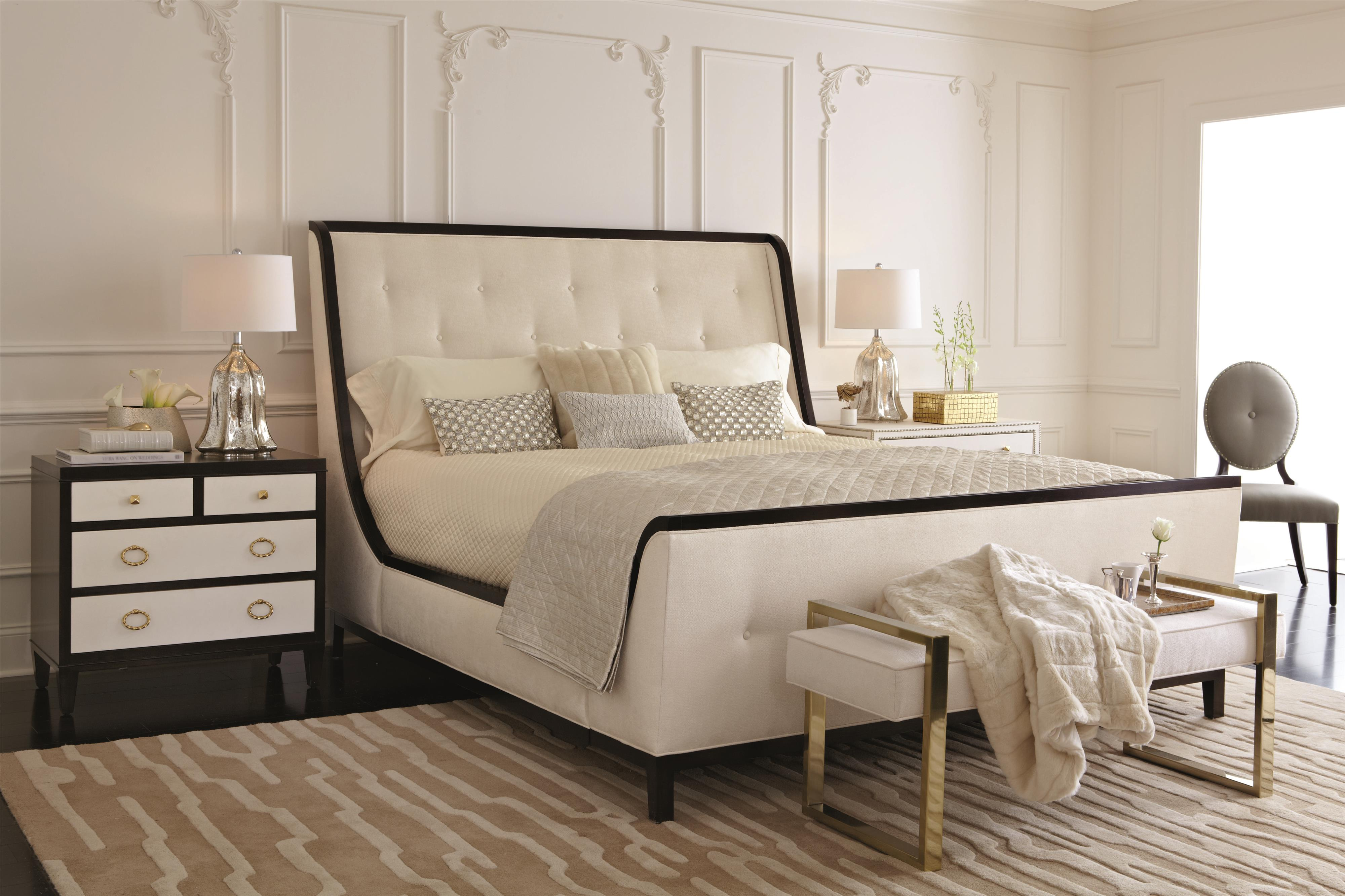 Bernhardt Jet Set King Upholstered Wing Bed Darvin