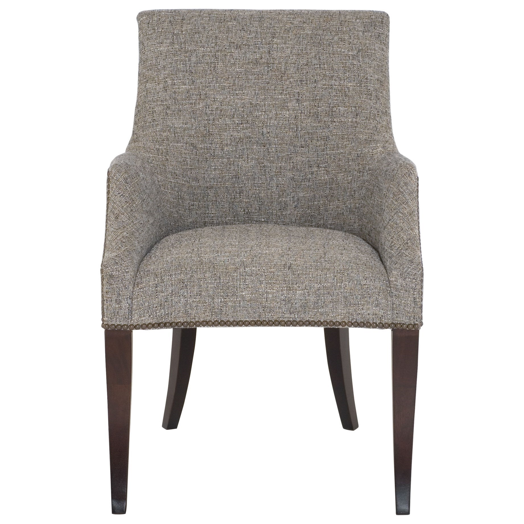 Bernhardt keeley upholstered dining arm chair with nail for Upholstered arm dining chairs