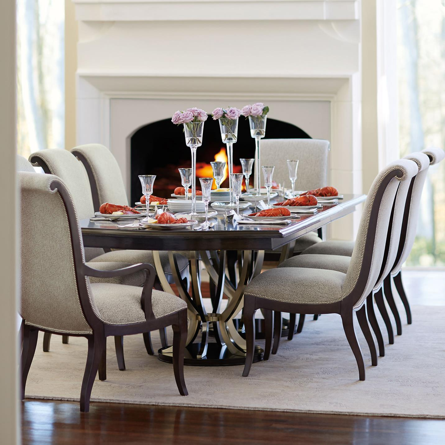bernhardt miramont 9 piece dining set with double pedestal table and upholstered chairs. Black Bedroom Furniture Sets. Home Design Ideas