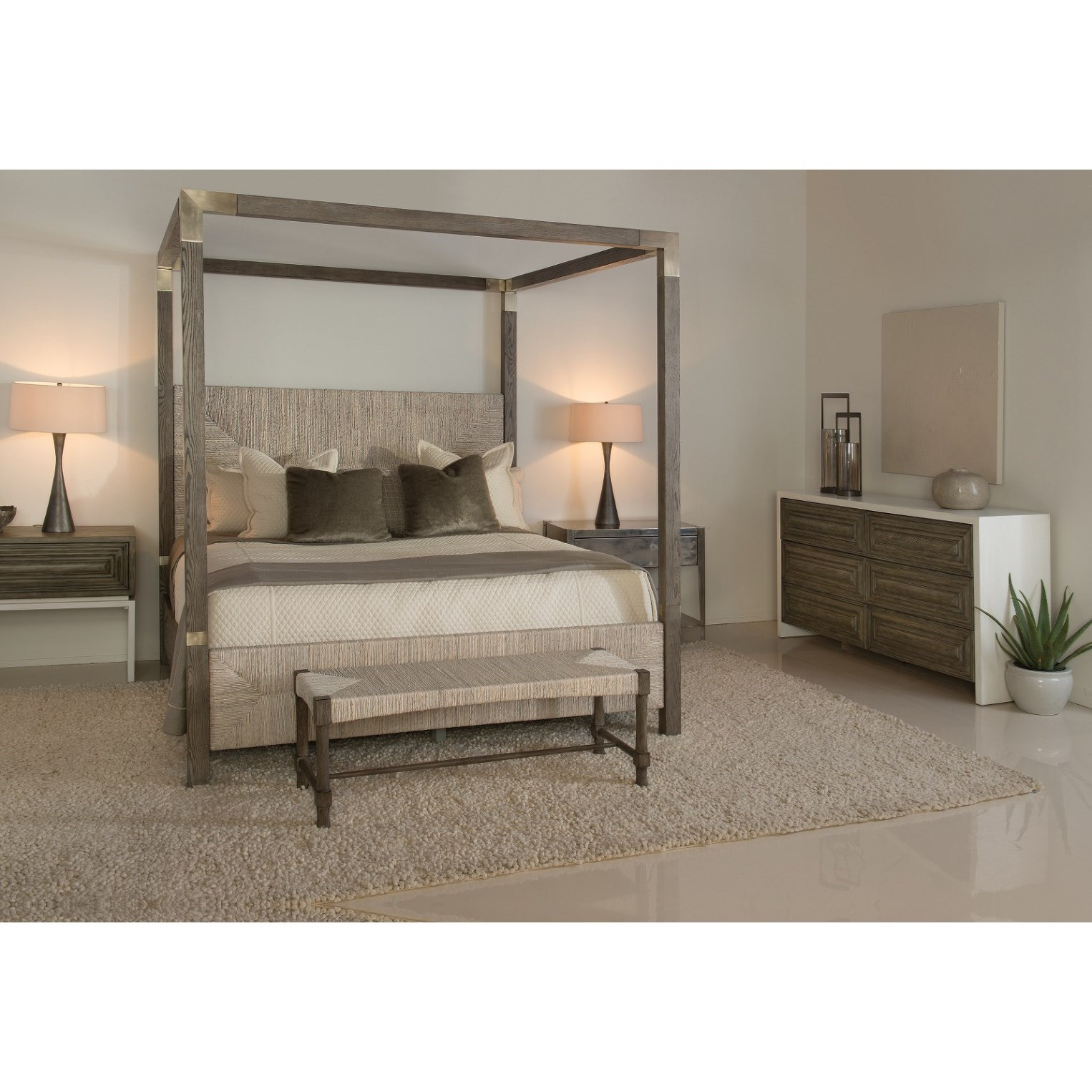 Bernhardt palma california king woven abaca canopy bed for Furniture palma