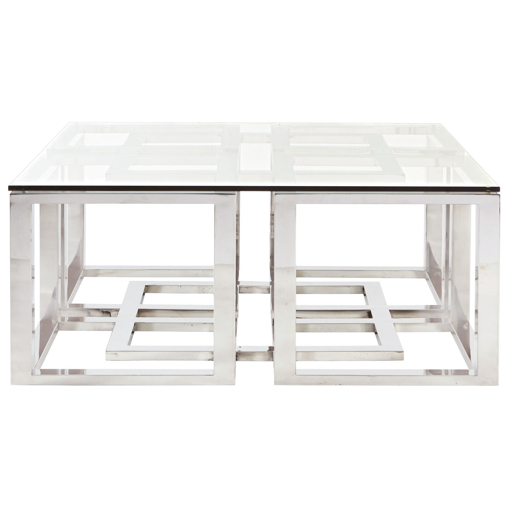 Bernhardt soho luxe contemporary metal cocktail table with for Contemporary glass cocktail tables
