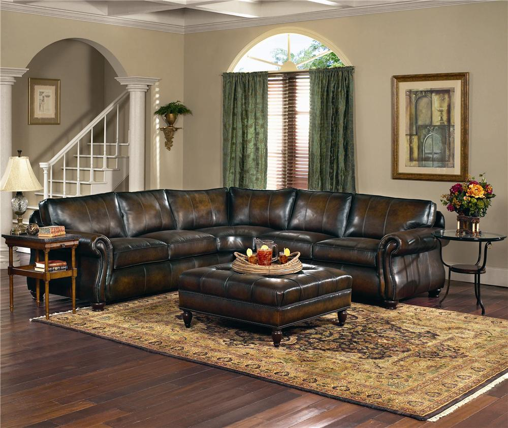 Bernhardt Van Gogh Leather Sectional Group Miskelly