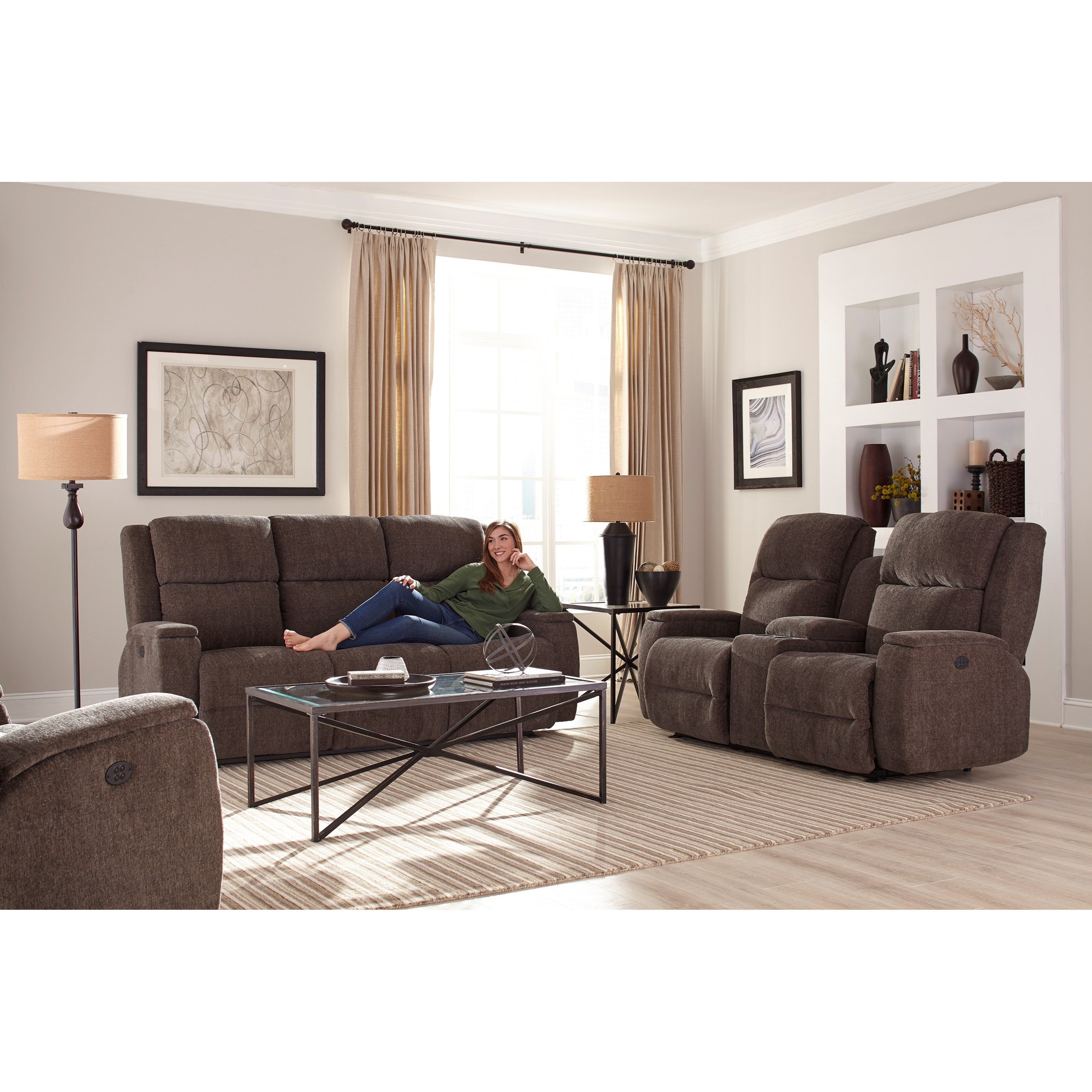 Colton Power Space Saver Reclining Sofa With Power Tilt Headrest Morris Home Reclining Sofa