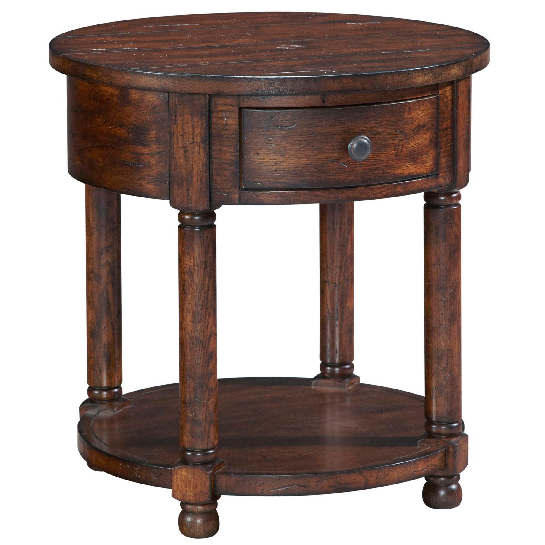 Broyhill furniture attic rustic round end table with shelf for Accent furnitureable