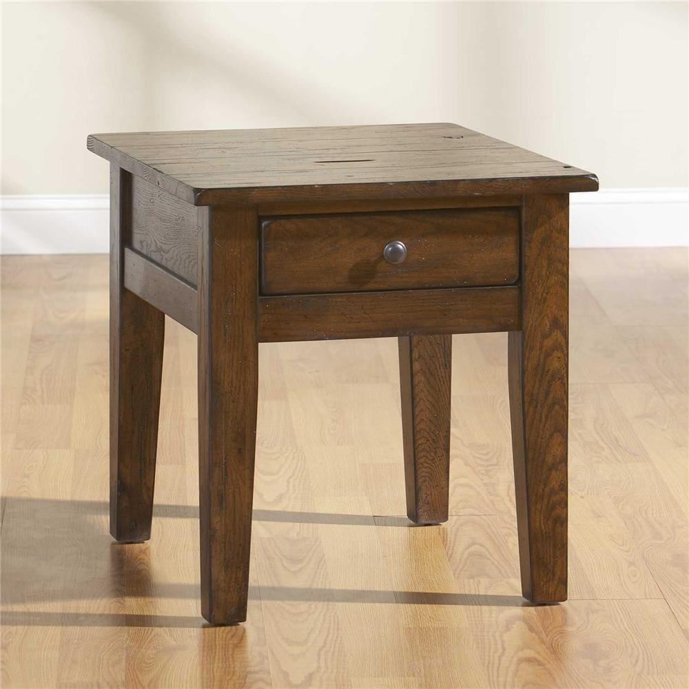 Broyhill furniture attic rustic end table with 1 drawer for Broyhill furniture