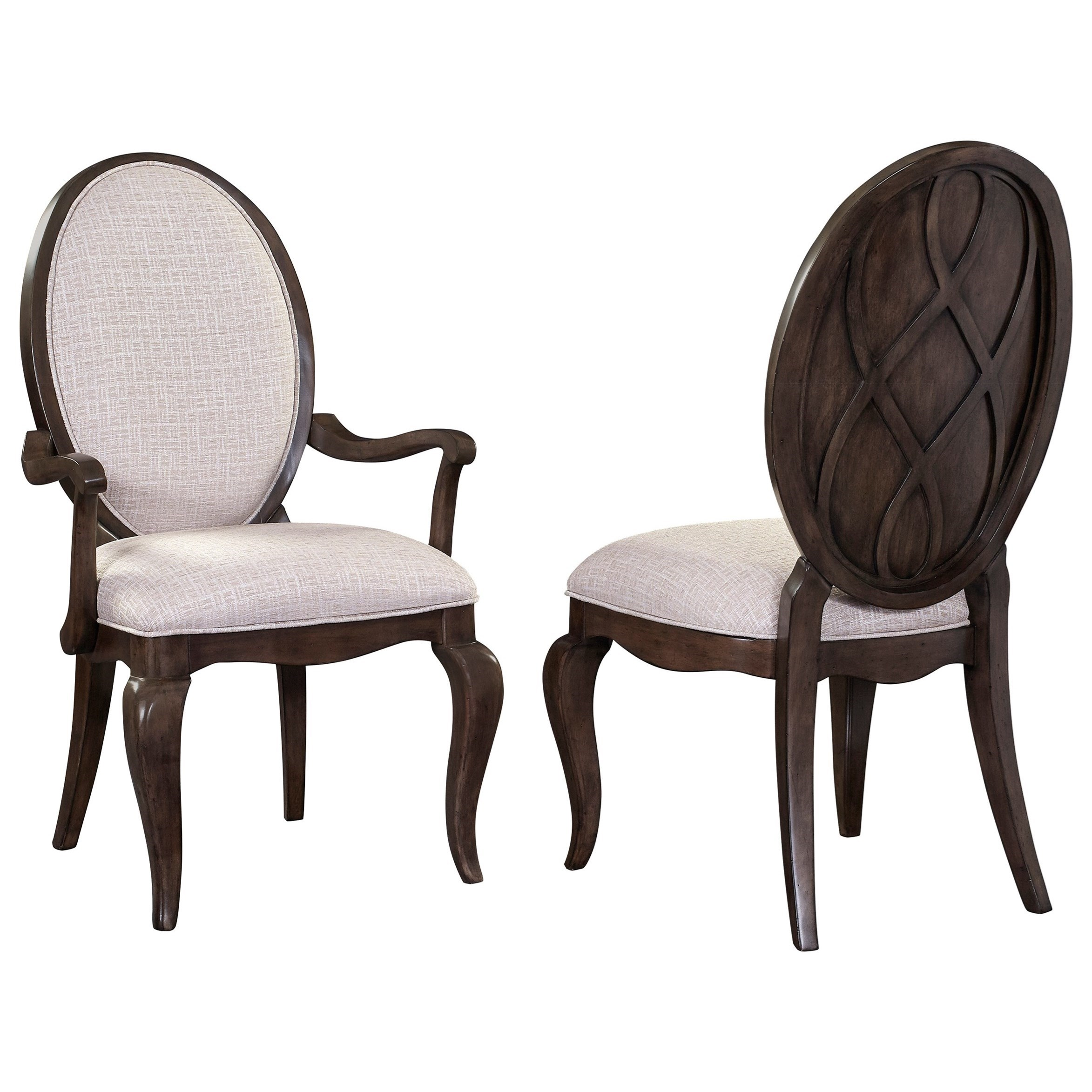 Broyhill furniture cashmera 4860 580 dining arm chair with for Oval back dining room chairs