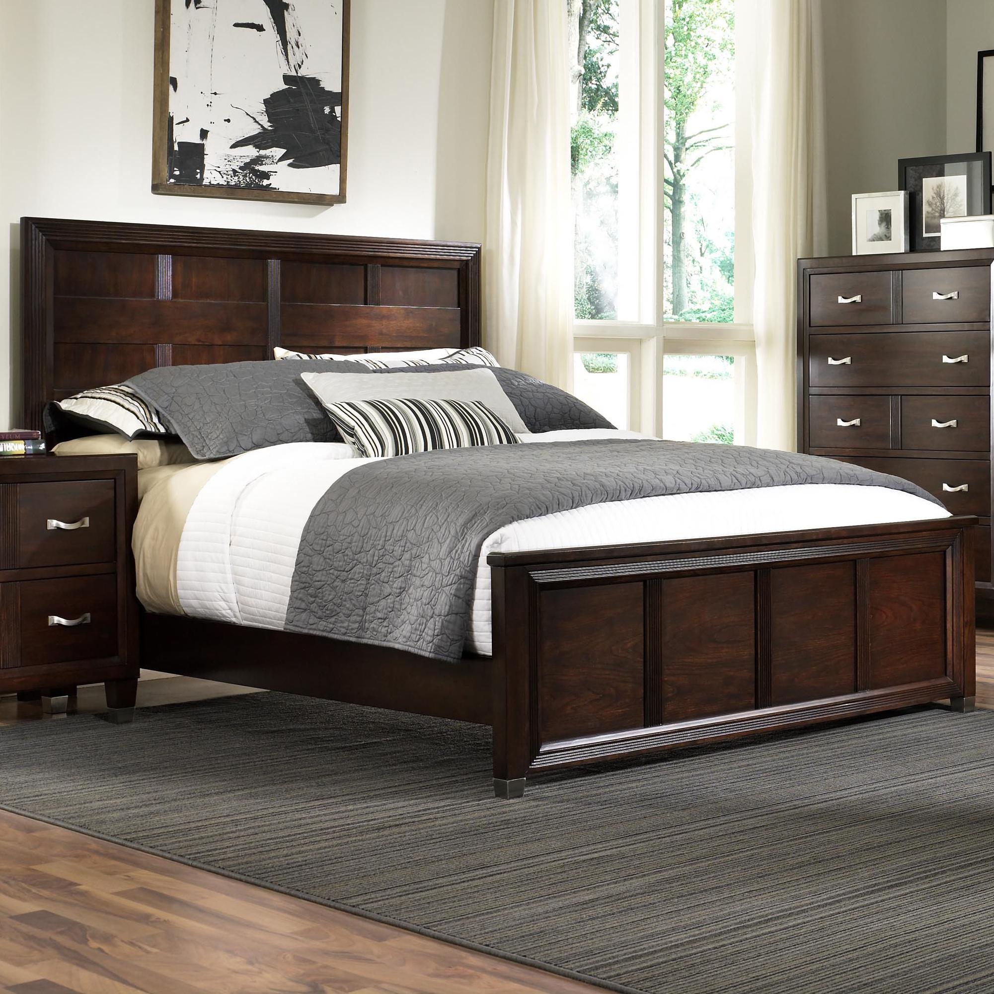 broyhill furniture eastlake 2 king panel headboard and low profile footboard bed lindy 39 s. Black Bedroom Furniture Sets. Home Design Ideas