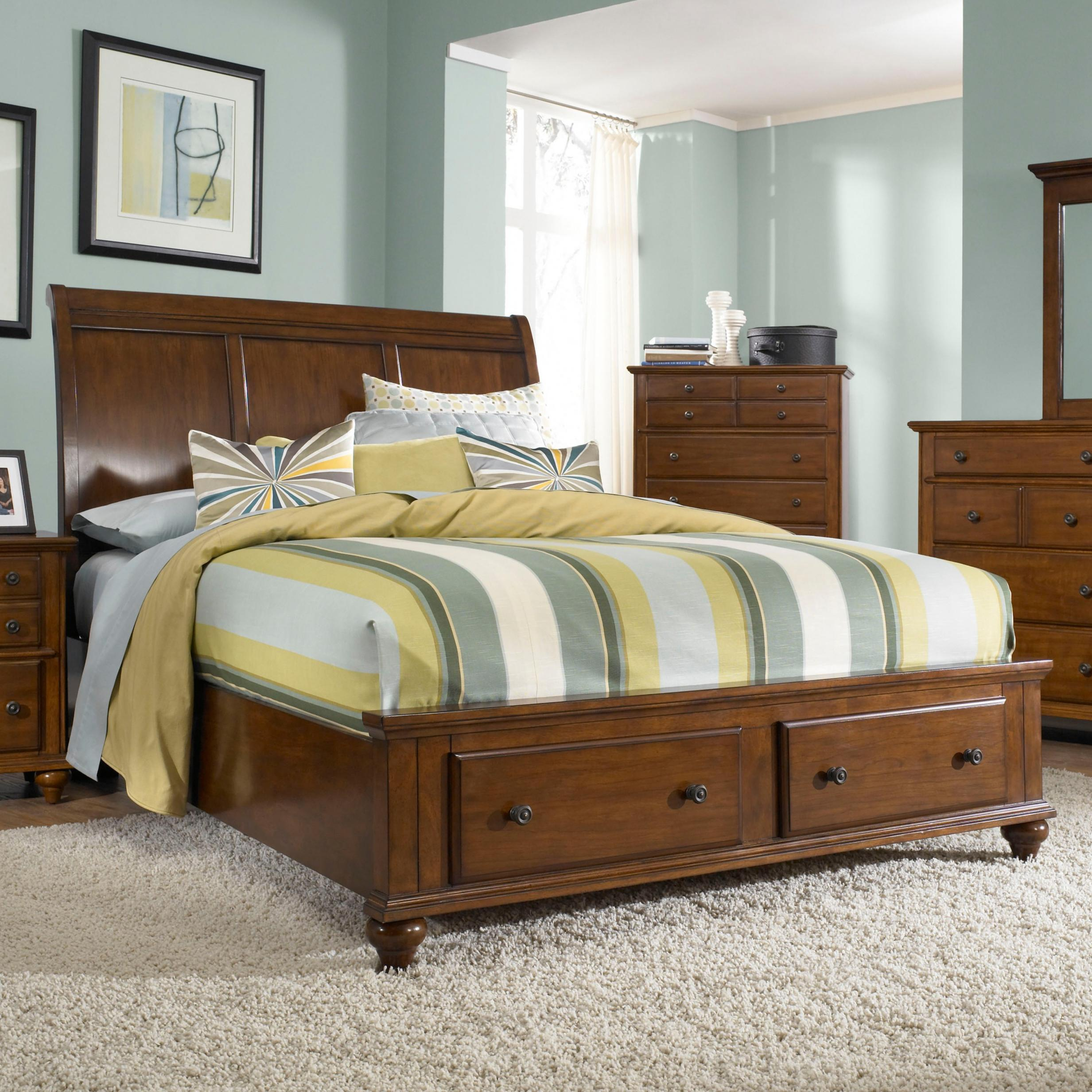 Broyhill furniture hayden place queen headboard and storage footboard sleigh bed baer 39 s Broyhill master bedroom sets