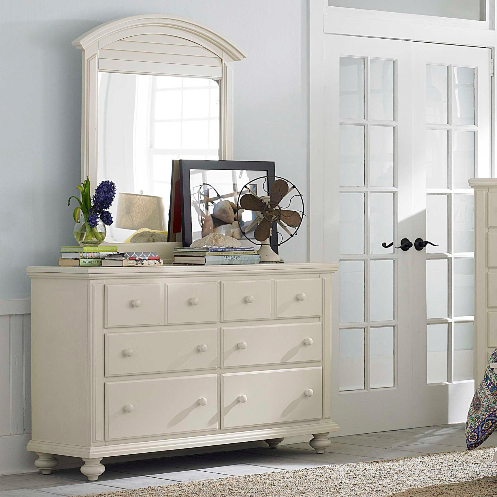 Broyhill Furniture Seabrooke 6 Drawer Dresser And Louver Arched Mirror Baer 39 S Furniture