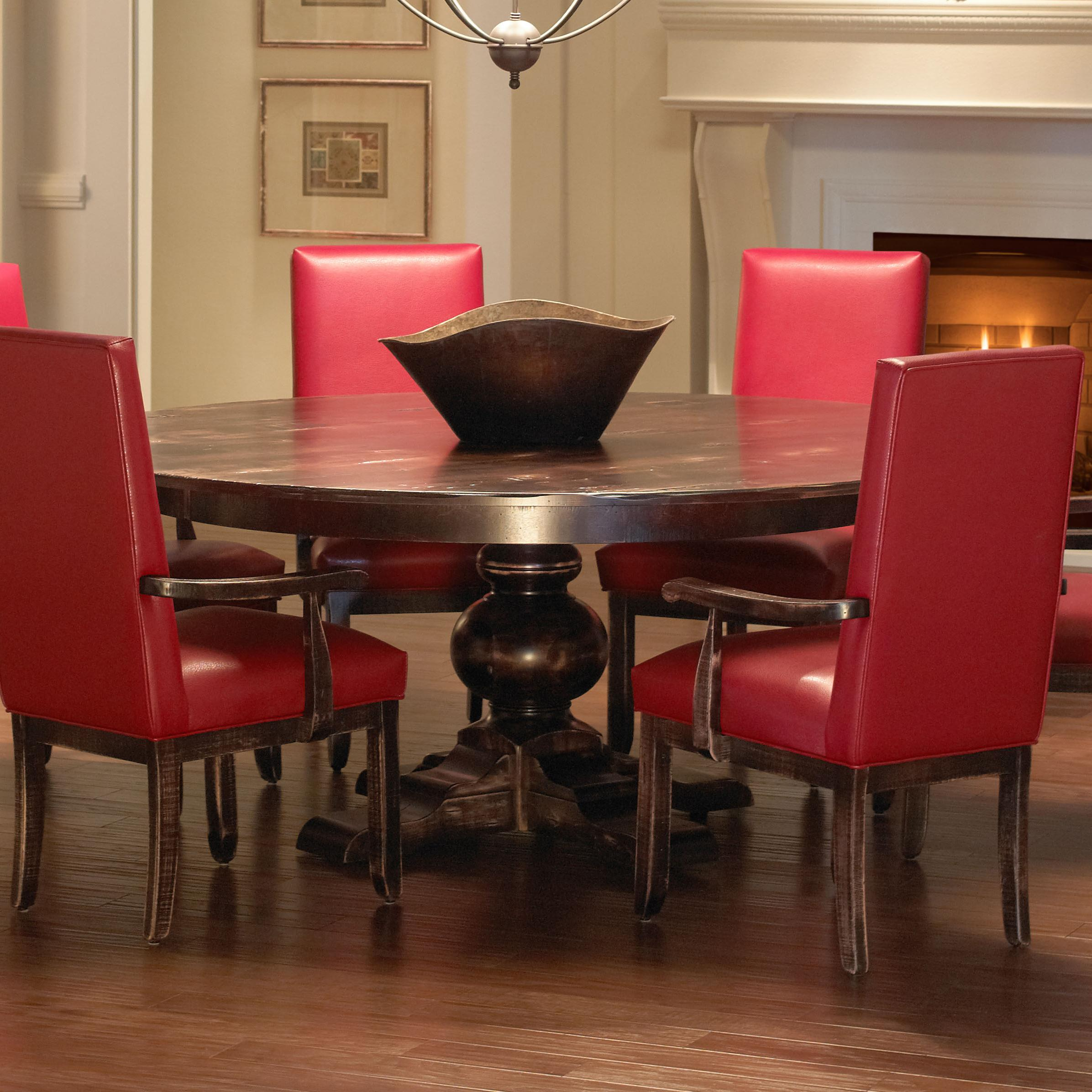 canadel champlain custom dining customizable round dining table with pedestal base becker. Black Bedroom Furniture Sets. Home Design Ideas