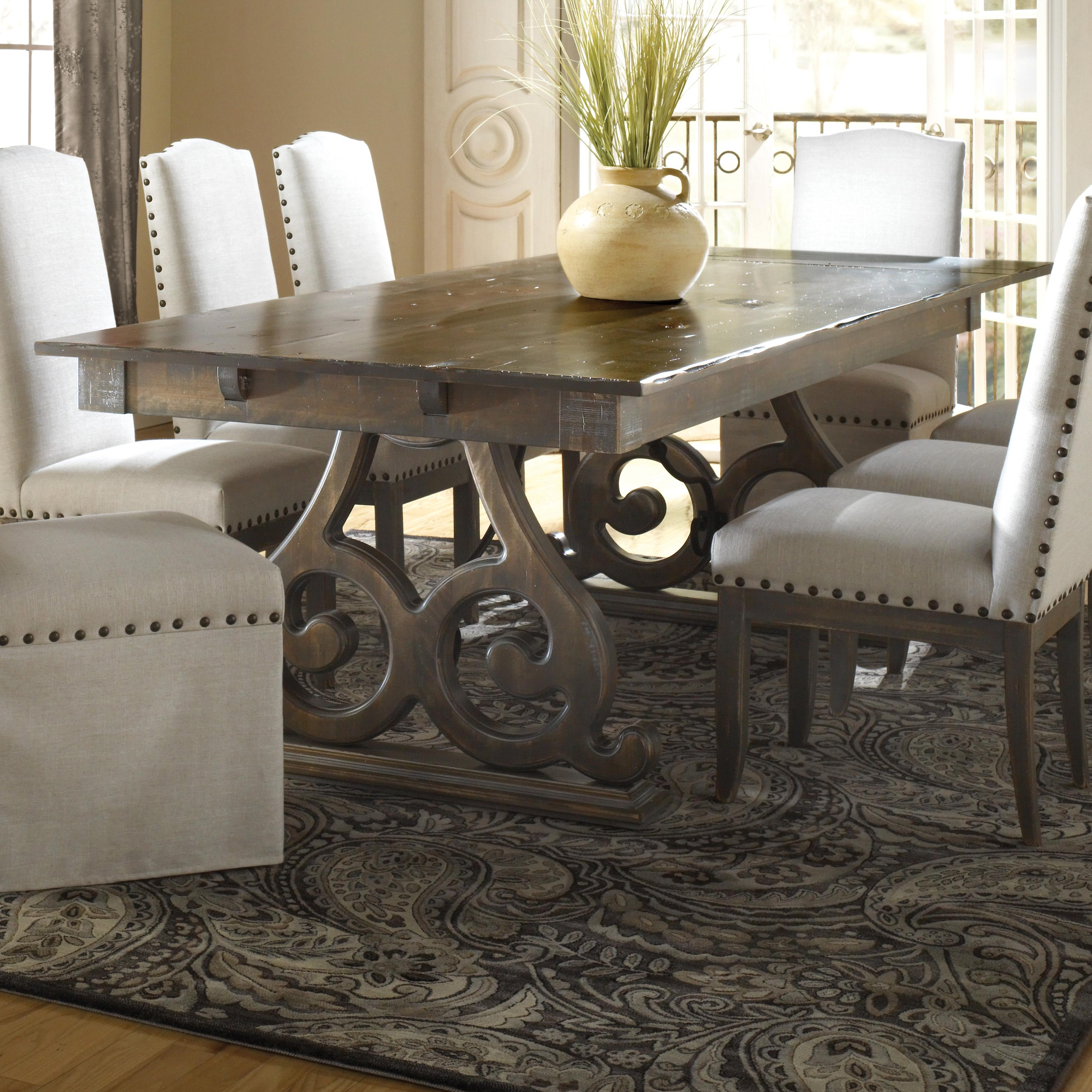 canadel champlain custom dining customizable rectangular table with double pedestal base. Black Bedroom Furniture Sets. Home Design Ideas
