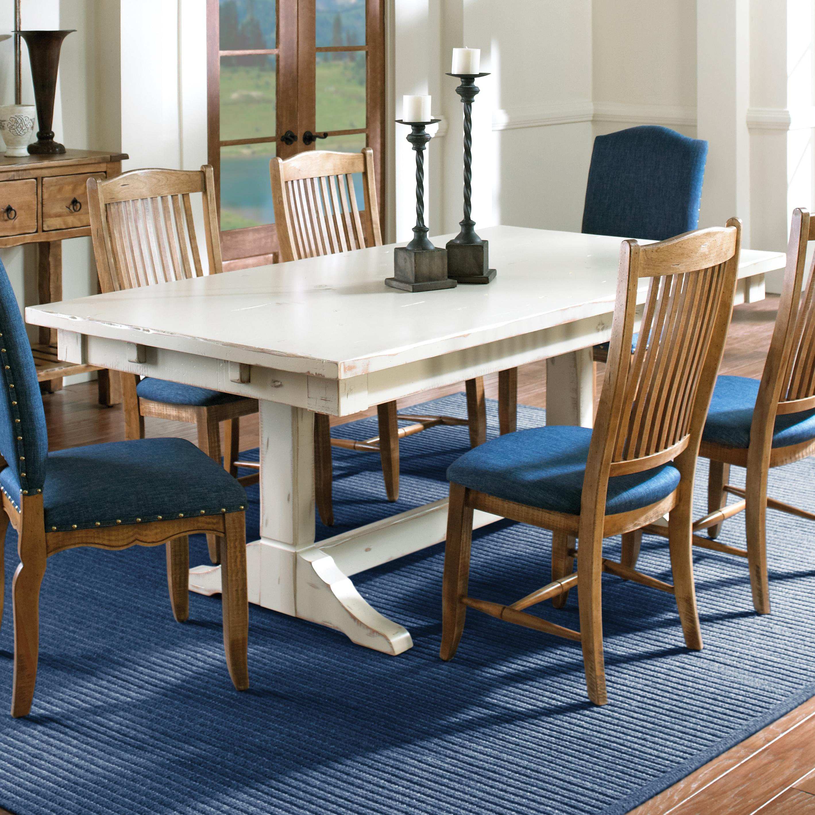 canadel champlain custom dining customizable rectangular table with trestle base belfort. Black Bedroom Furniture Sets. Home Design Ideas