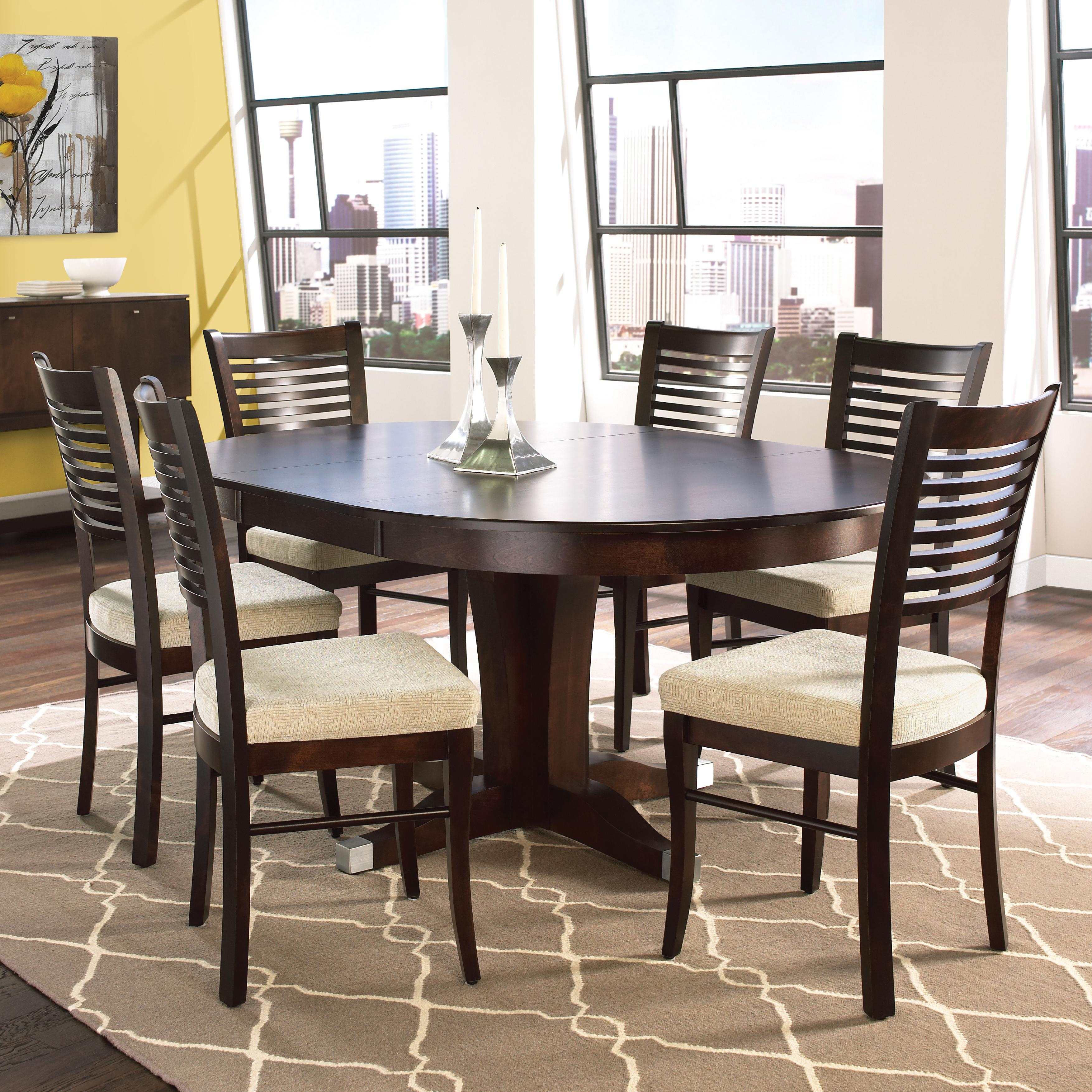 canadel custom dining customizable round table with leaf set dinette depot dining 7 or more. Black Bedroom Furniture Sets. Home Design Ideas