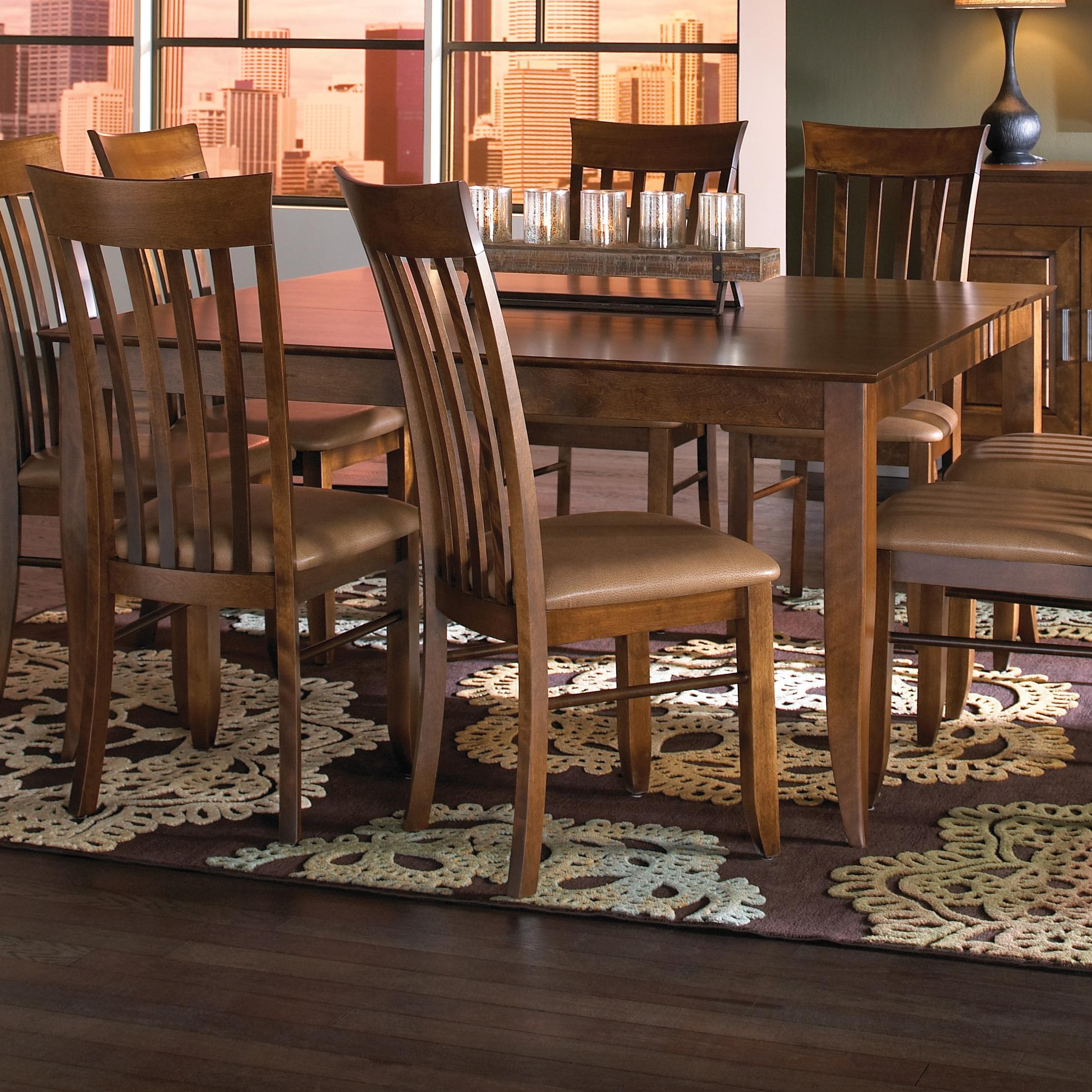 Canadel custom dining customizable rectangular table with for Rectangular dining room tables with leaves
