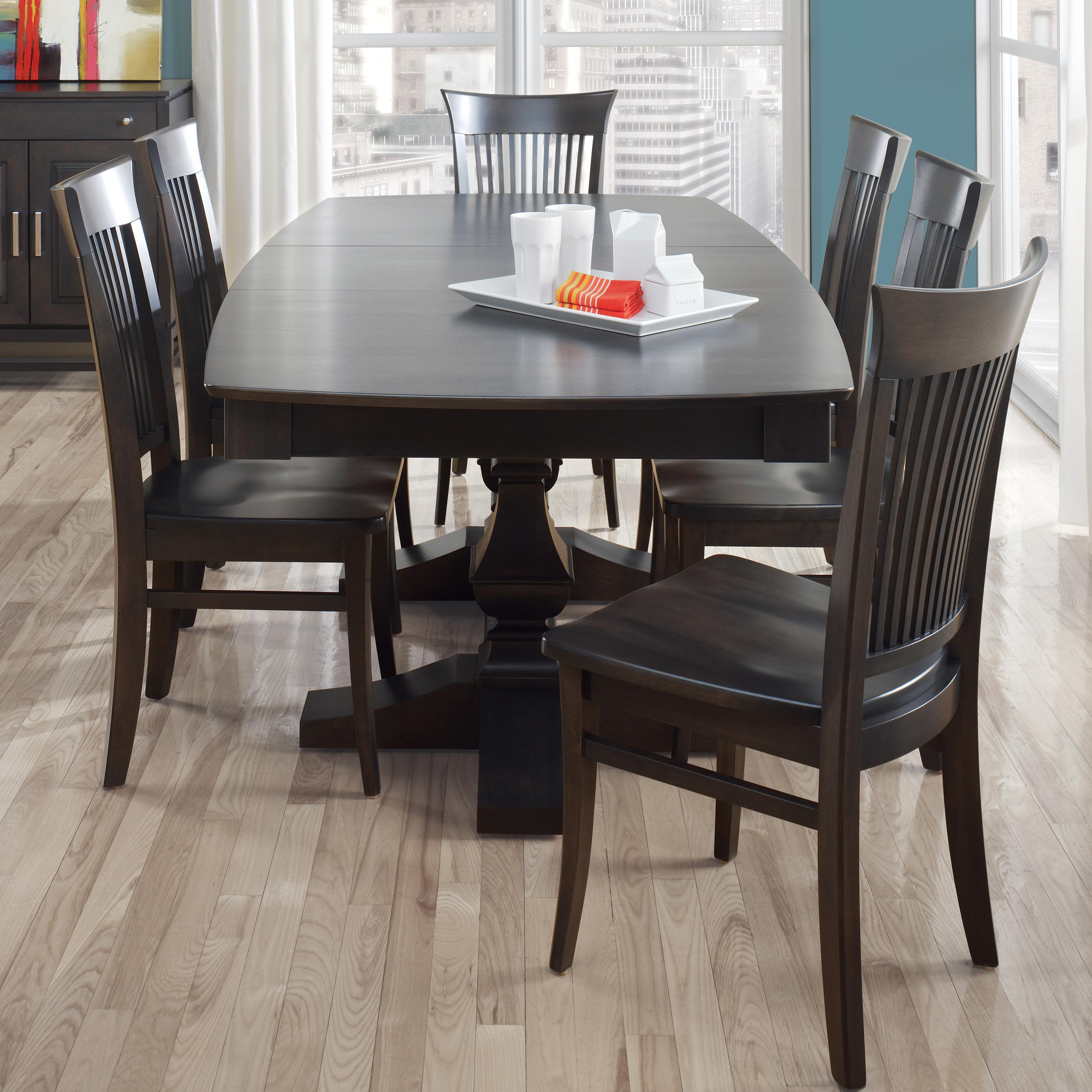 canadel custom dining customizable boat shape table with leaf set becker furniture world. Black Bedroom Furniture Sets. Home Design Ideas