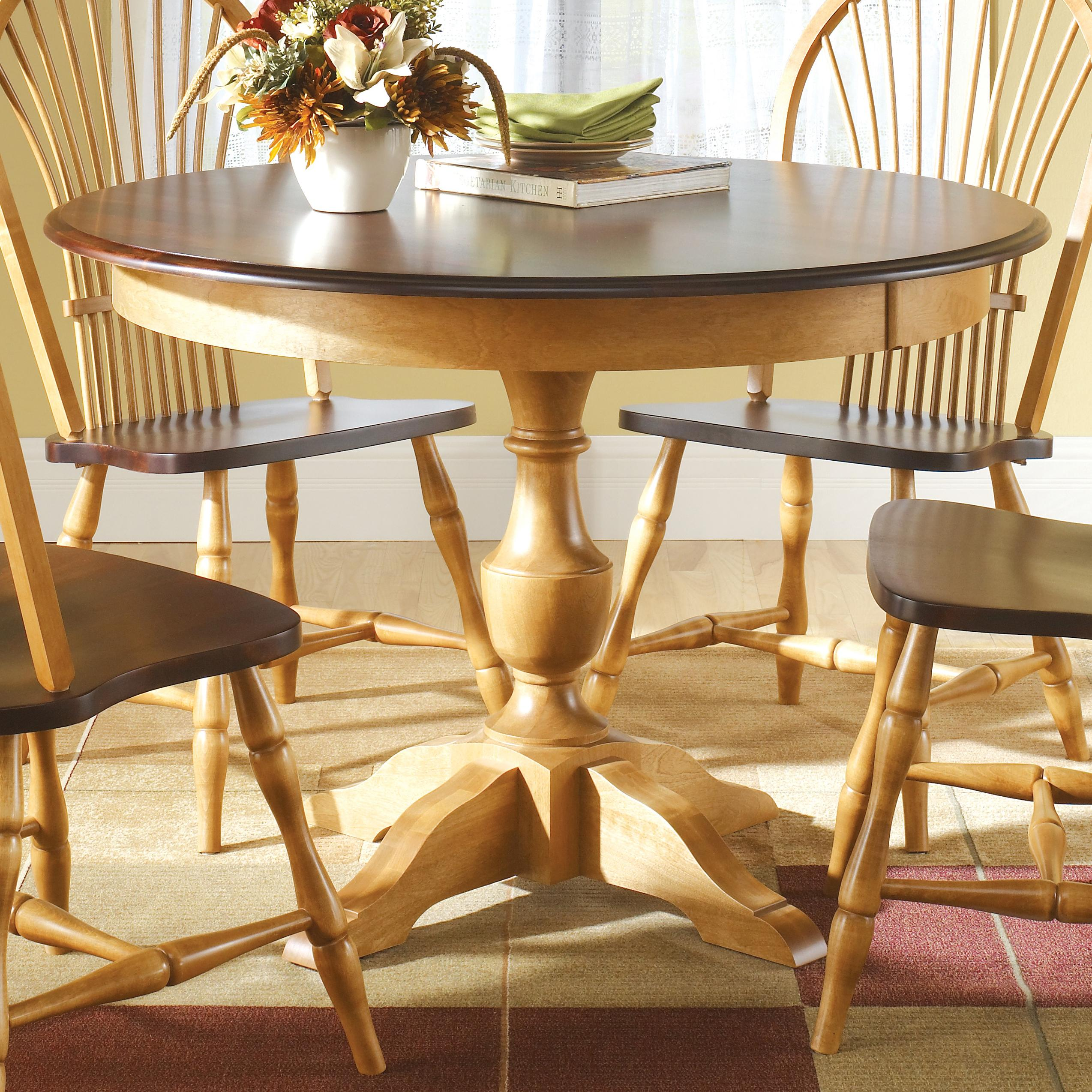 Canadel custom dining customizable round table with for Unique round dining tables