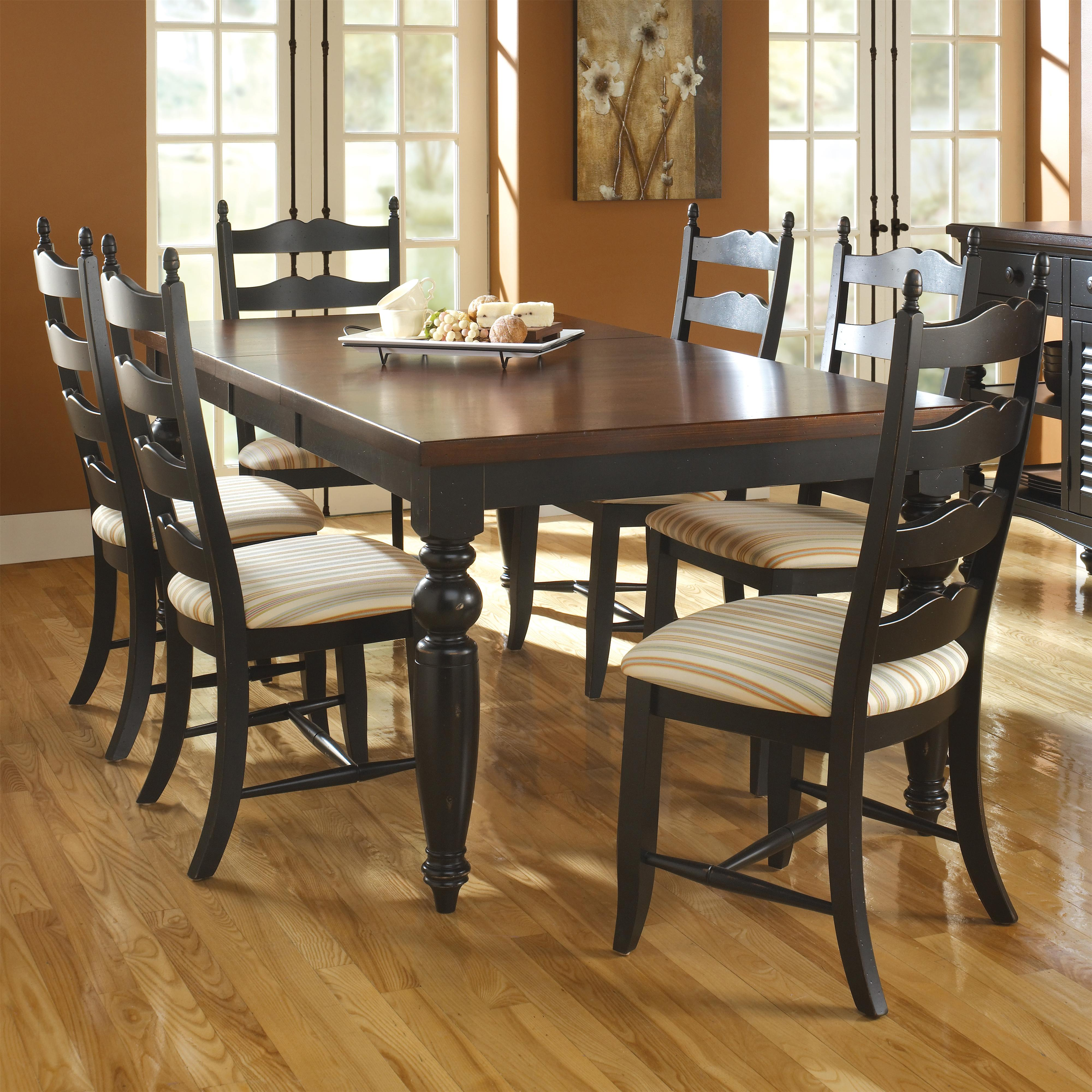 canadel custom dining customizable rectangular table set with 6 chairs becker furniture world. Black Bedroom Furniture Sets. Home Design Ideas