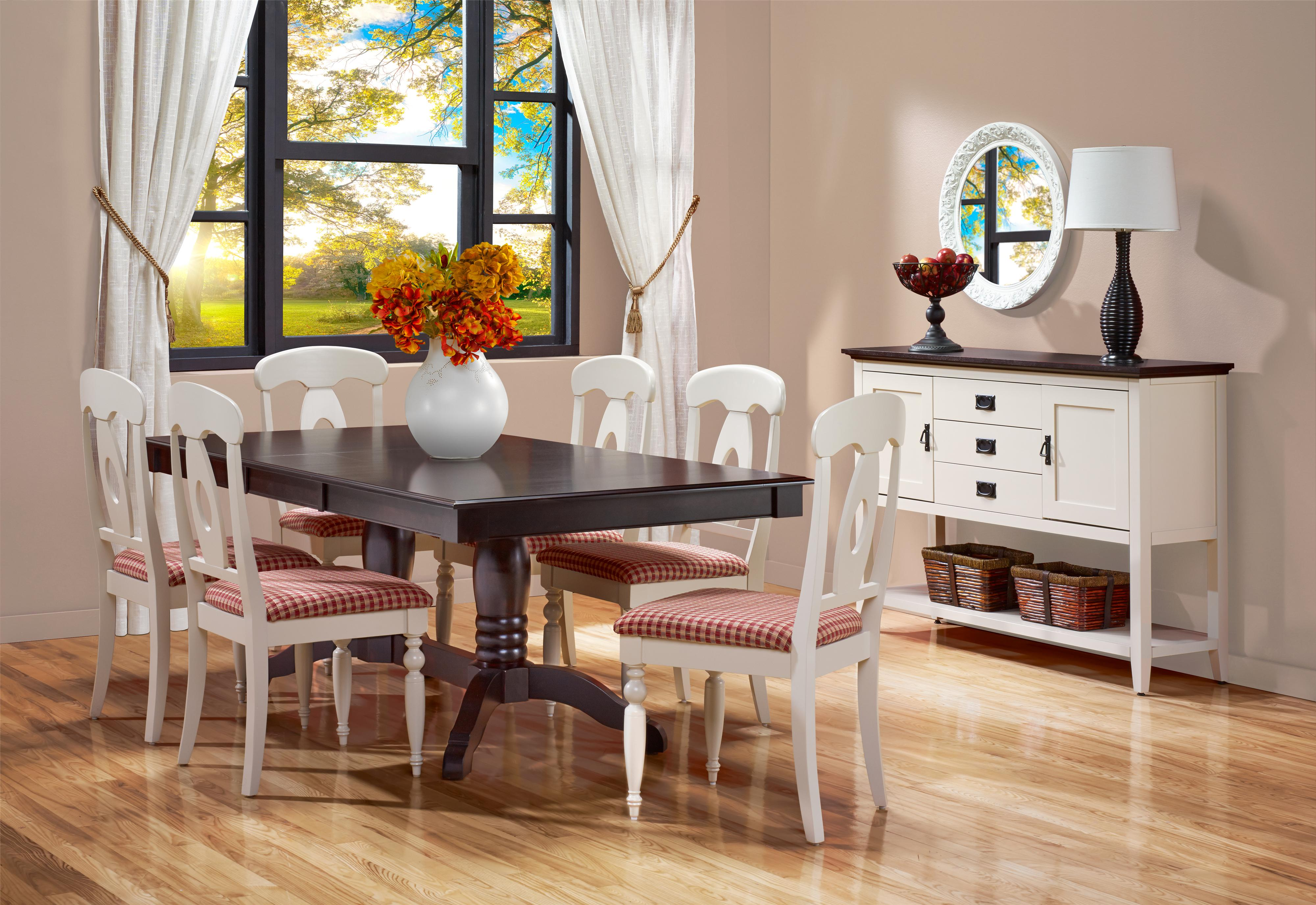 canadel gourmet custom dining customizable rectangular table with leaf trestle base. Black Bedroom Furniture Sets. Home Design Ideas