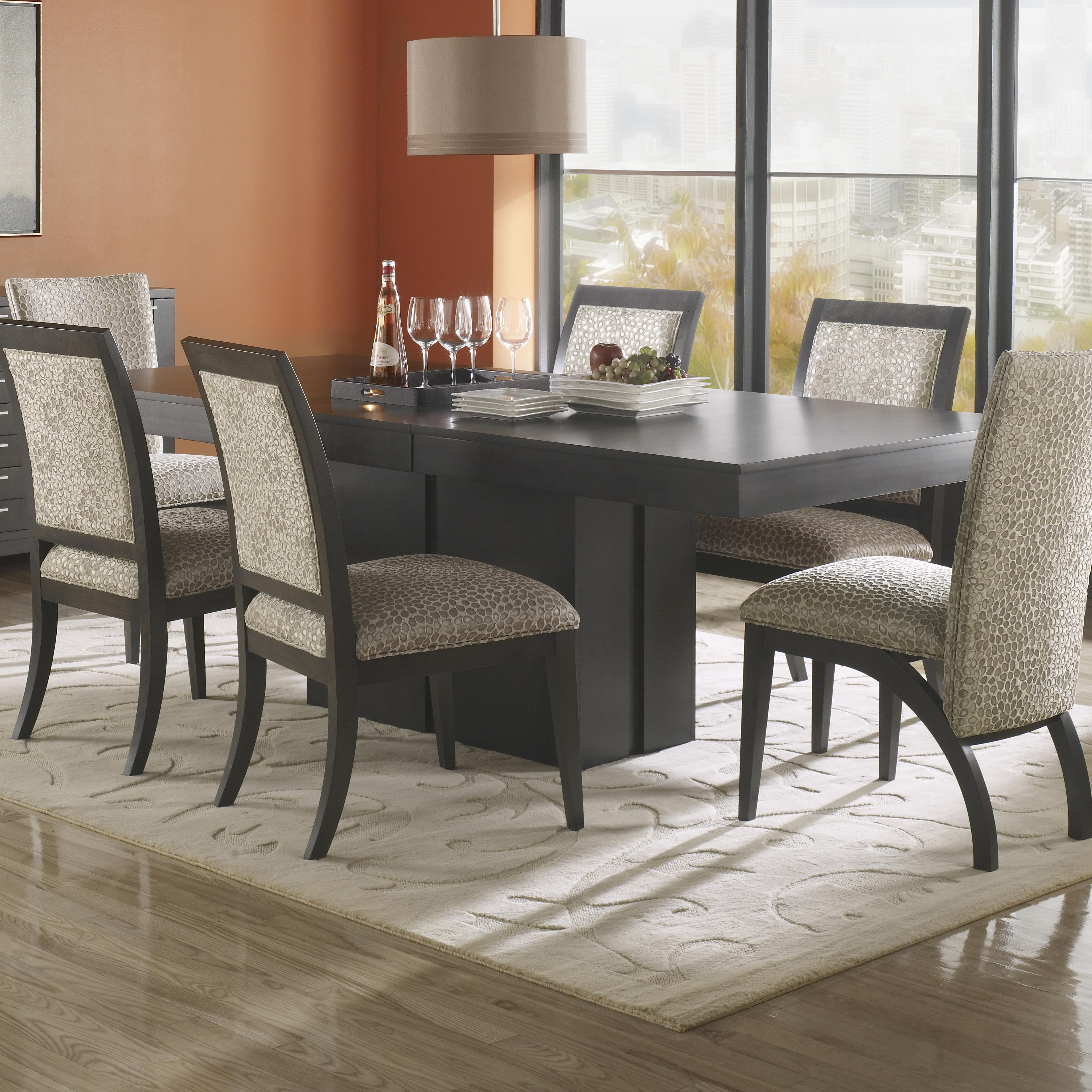 canadel custom dining tre042685959mmw61 bas customizable rectangular table with pedestal base. Black Bedroom Furniture Sets. Home Design Ideas