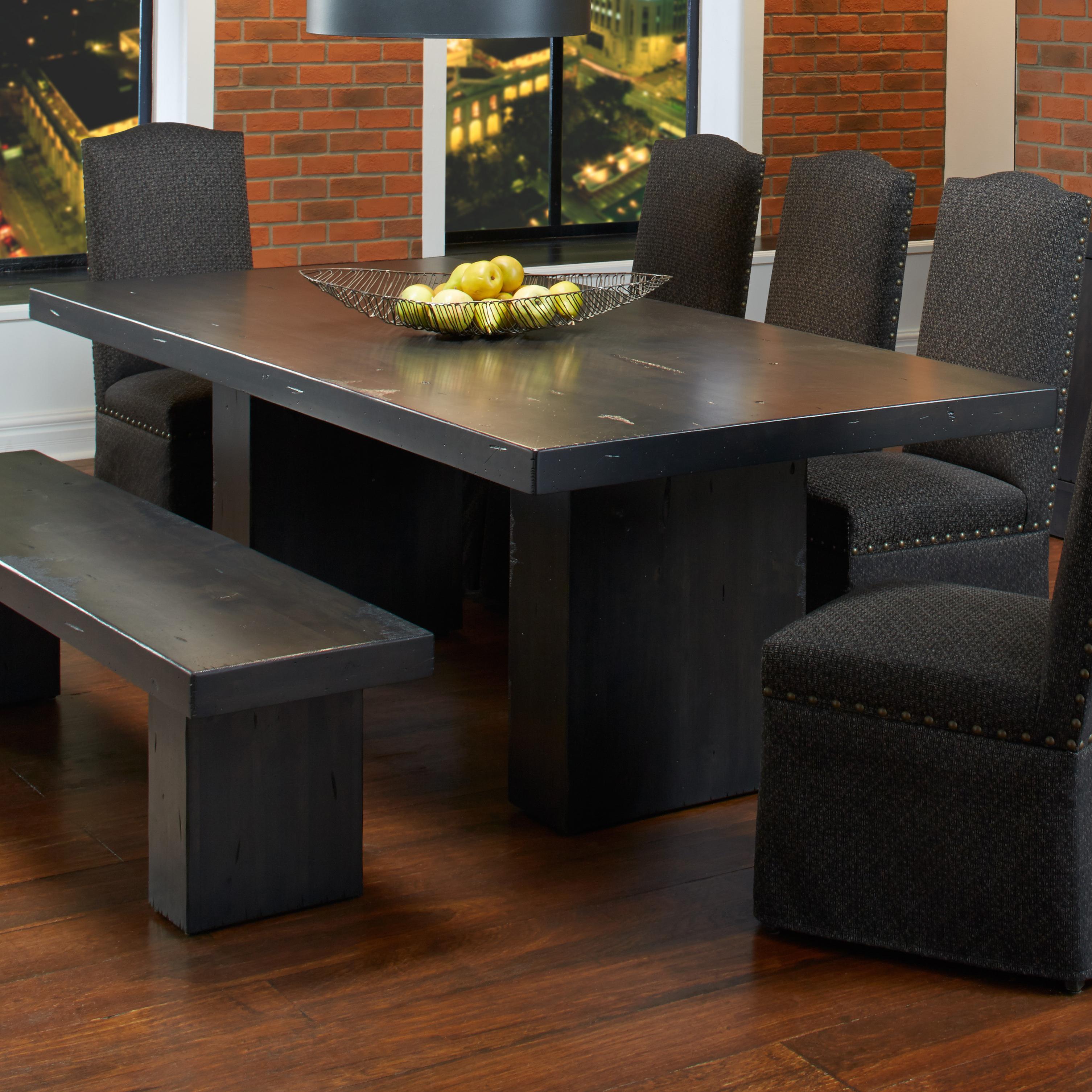 canadel loft custom dining customizable rectangular table with double pedestal base belfort. Black Bedroom Furniture Sets. Home Design Ideas