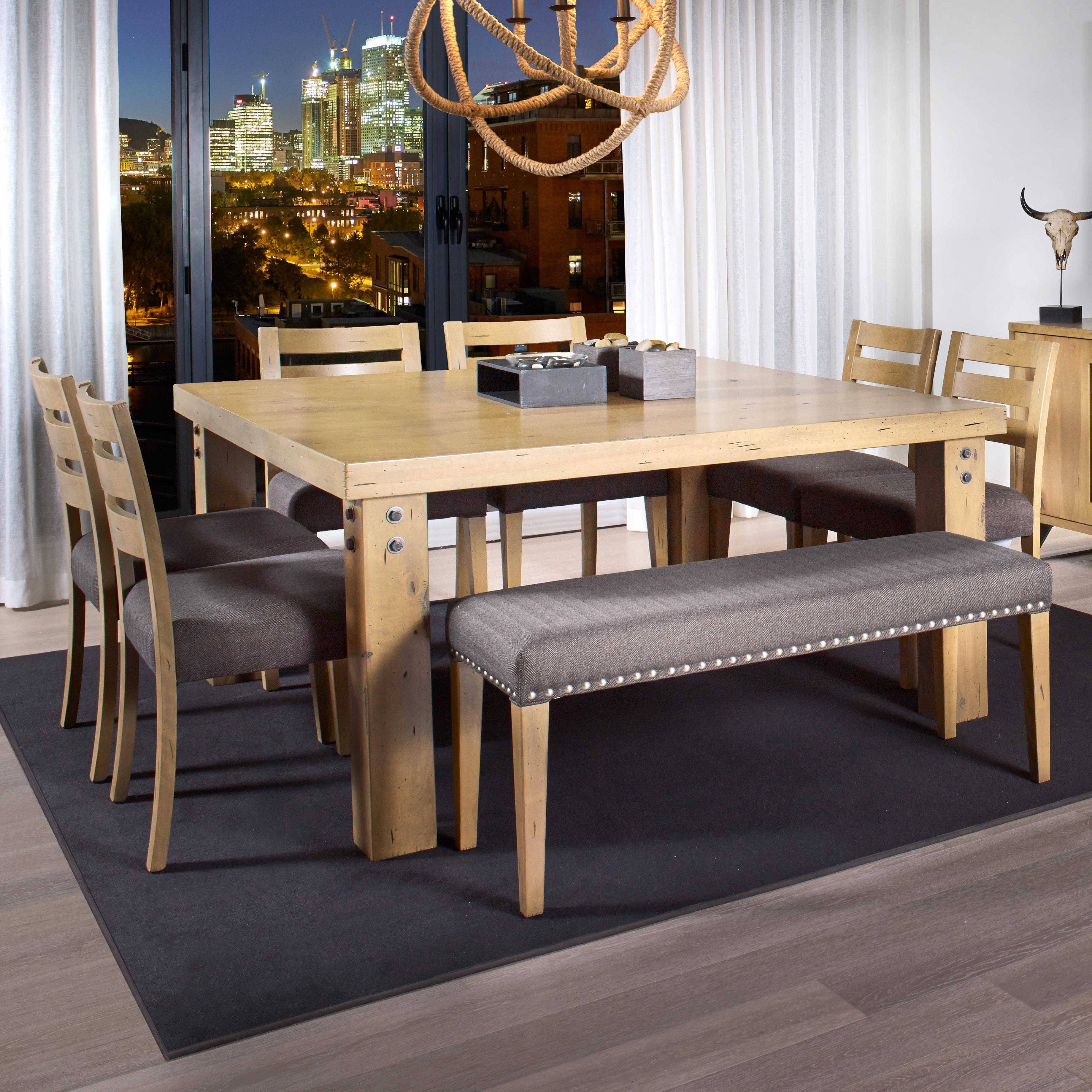 canadel loft custom dining customizable square dining table set with bench john v schultz. Black Bedroom Furniture Sets. Home Design Ideas