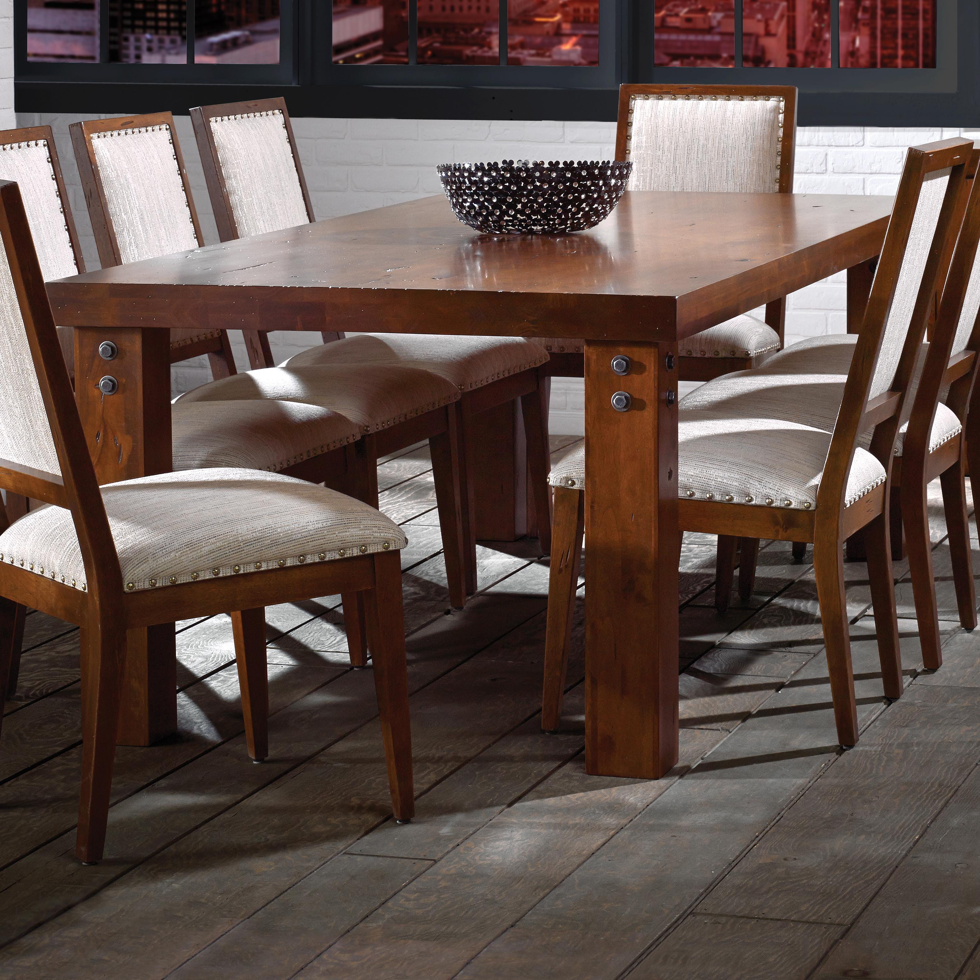 canadel loft custom dining tre0428833narpknf customizable rectangular table with accent rivets. Black Bedroom Furniture Sets. Home Design Ideas