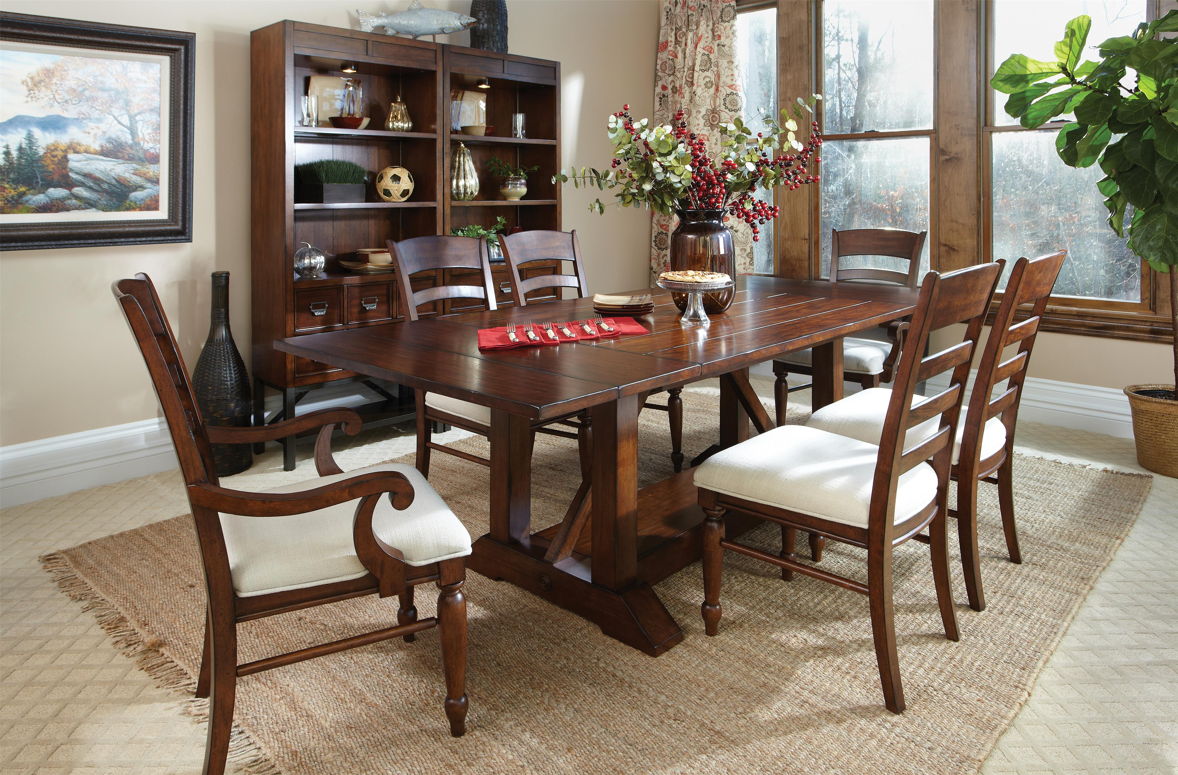 Easton collection blue ridge cherry ladder back arm chair for Dining room tables easton