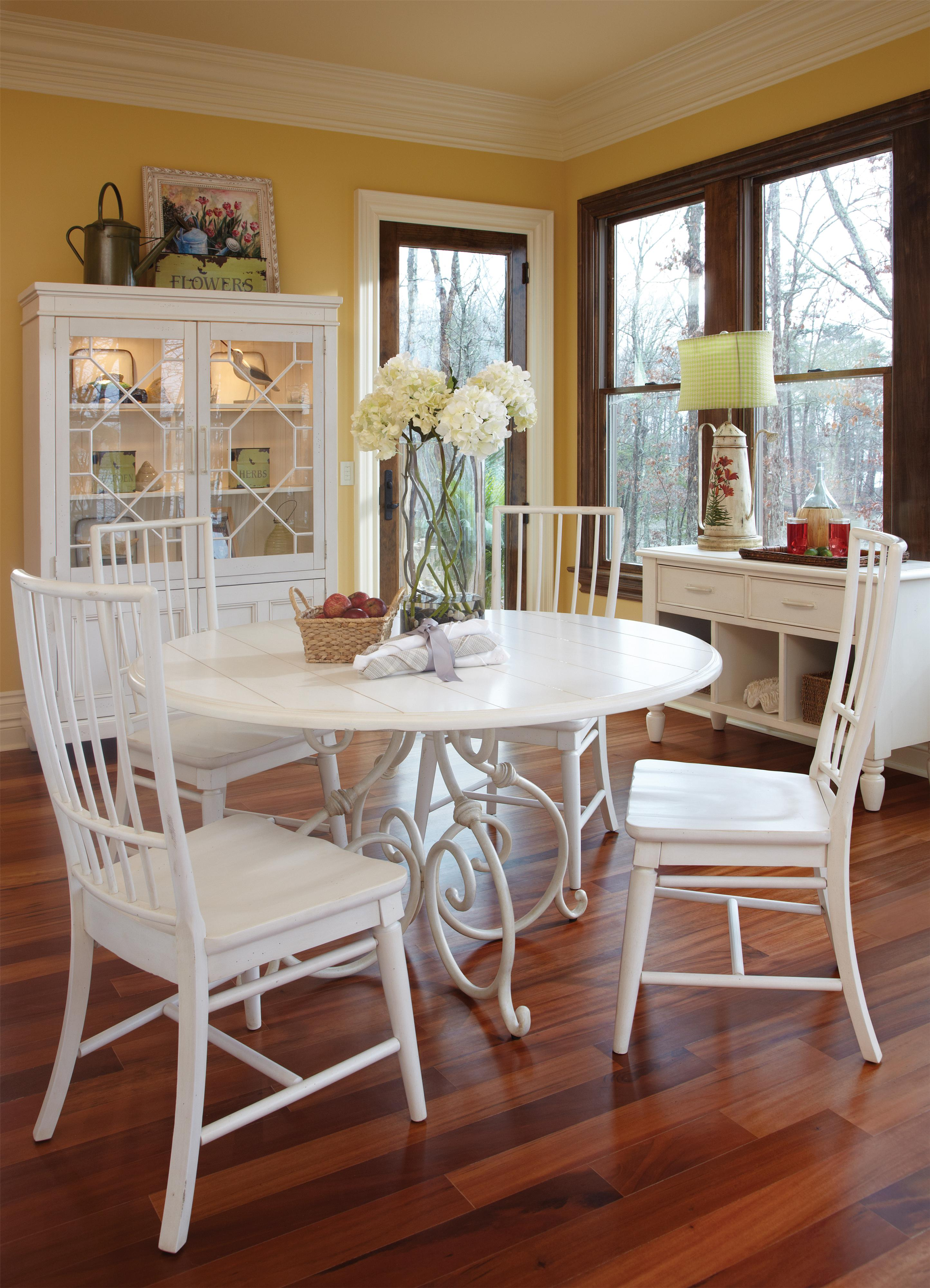 Easton collection sea breeze blossom white curio cabinet for Dining room tables easton