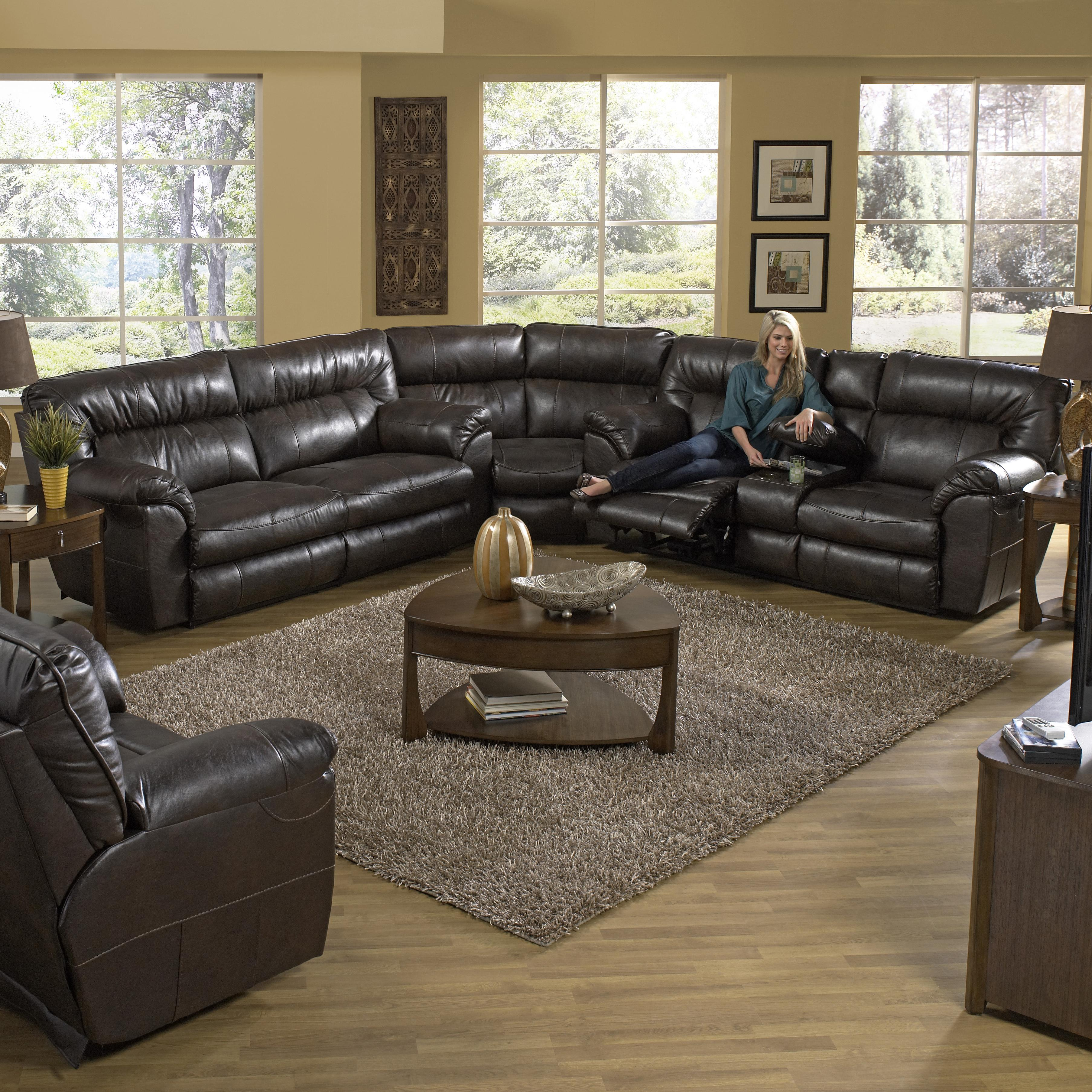 catnapper nolan power reclining sectional sofa with right console knight furniture mattress. Black Bedroom Furniture Sets. Home Design Ideas