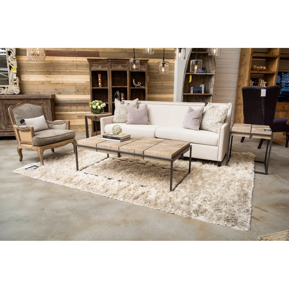 Classic Home Cooper 56 Transitional Rectangular Elm Wood Coffee Table With Black Finish Iron