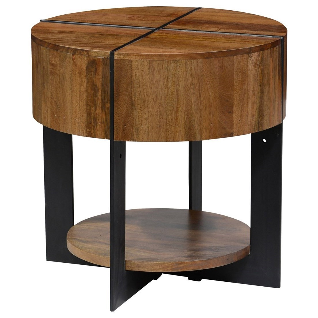 Classic home desmond 51010603 round mango wood end table for Classic home tables