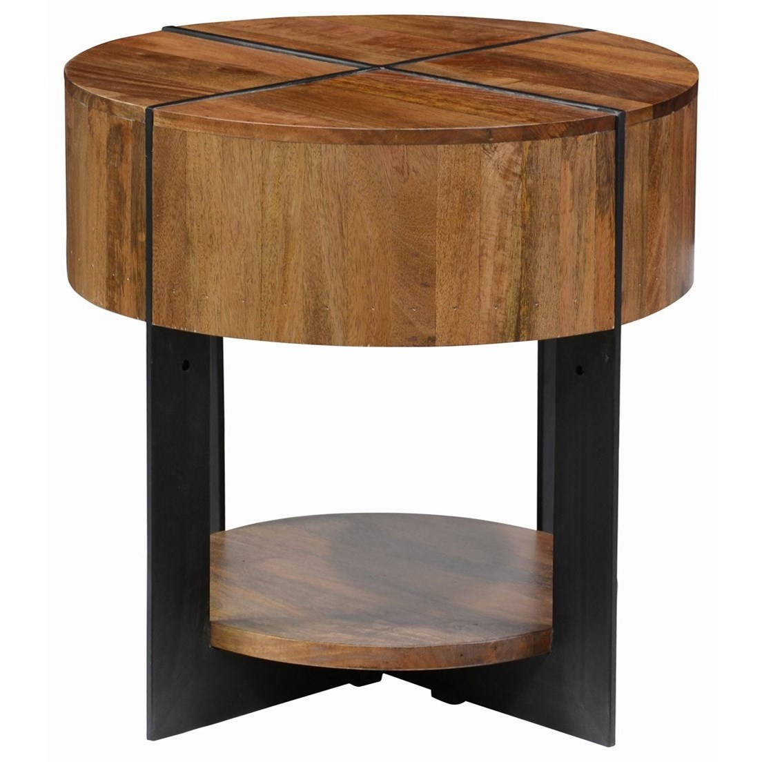 Classic home desmond round mango wood end table with iron for Classic home tables