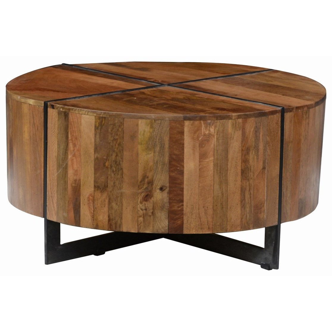 Classic home desmond round mango wood coffee table with for Classic home tables