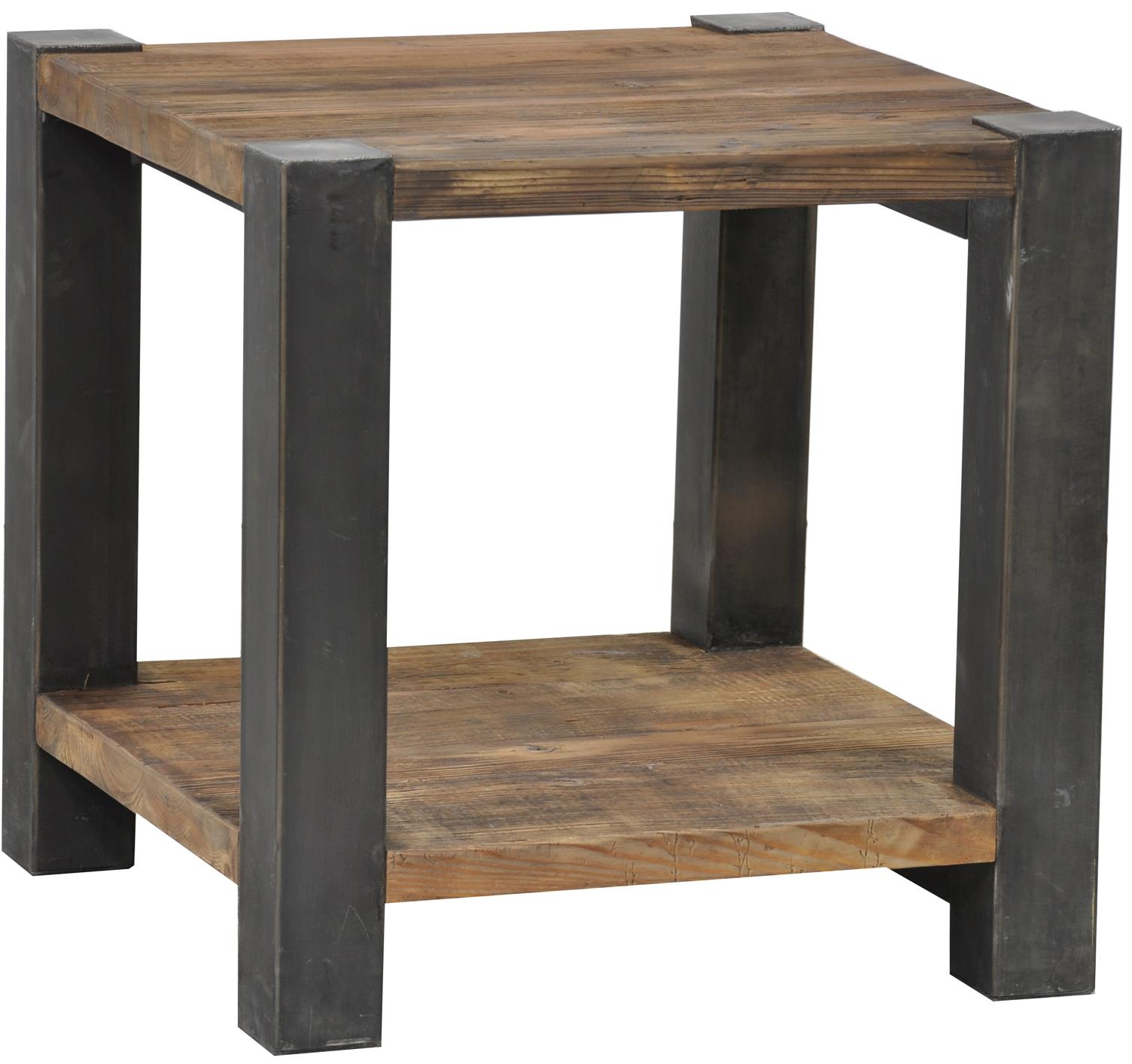 Classic Home Jaden Reclaimed End Table With Iron Base Jacksonville Furniture Mart End Table