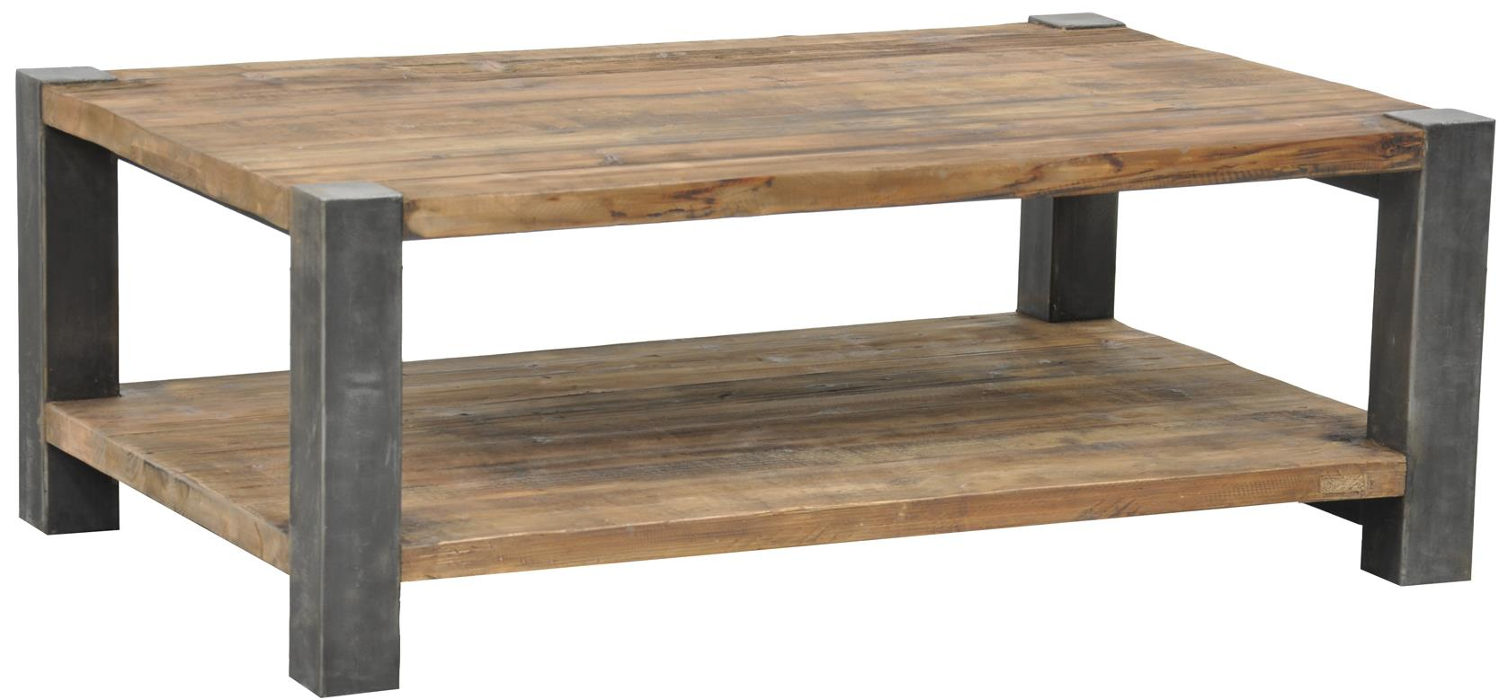 Classic home jaden reclaimed coffee table with iron base for Classic home furniture jacksonville fl