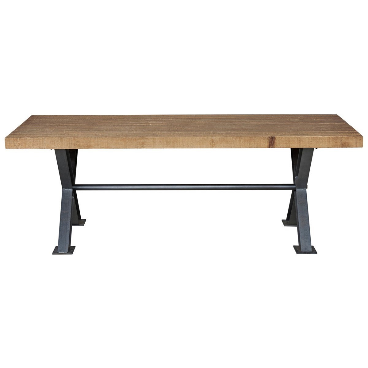 Classic home portofino wood dining table with trestle iron for Classic home furniture jacksonville fl