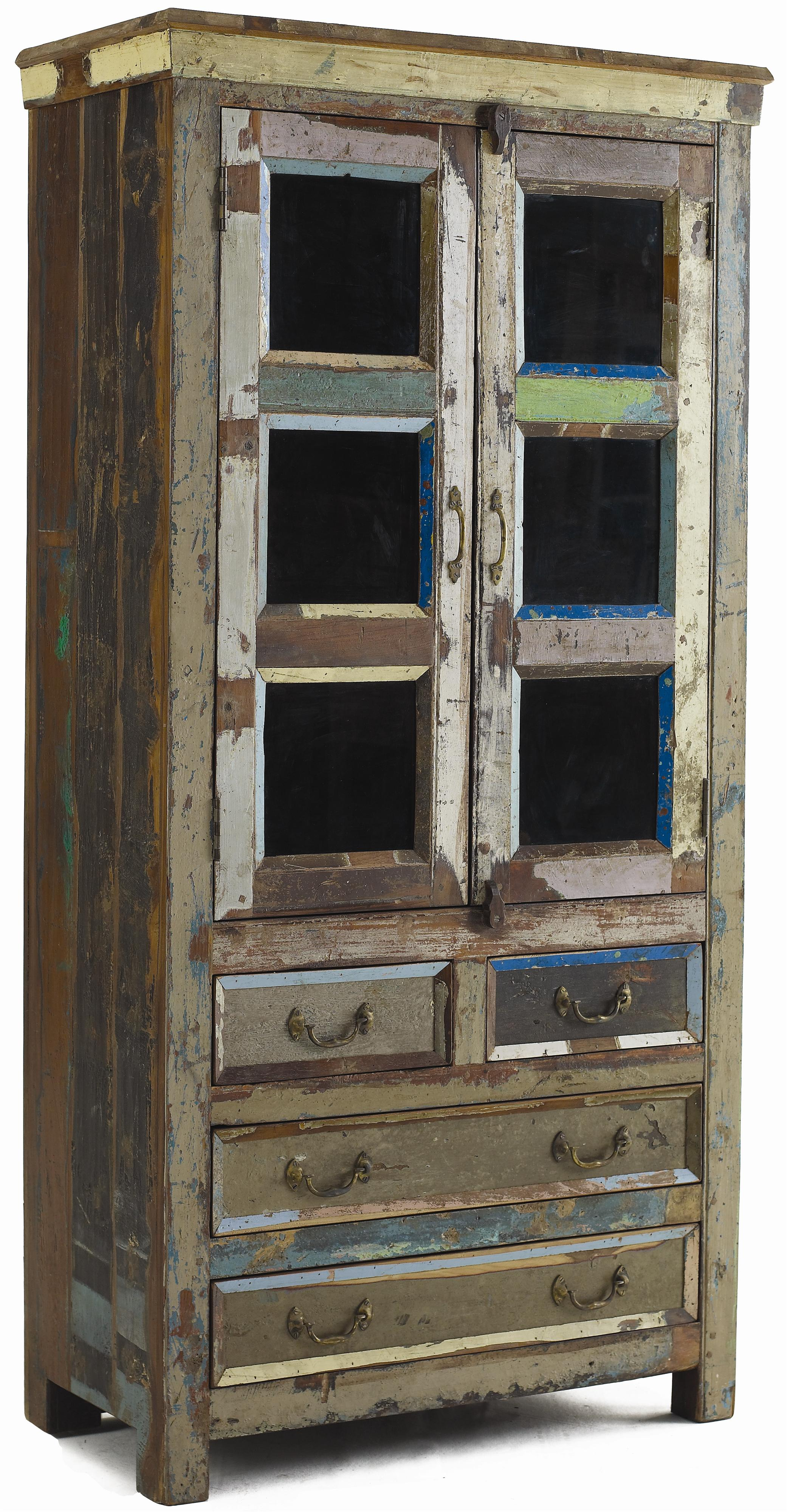 Classic Home Vintage Reclaimed Wood Multi Color Glass Panel Cabinet Jacksonville Furniture