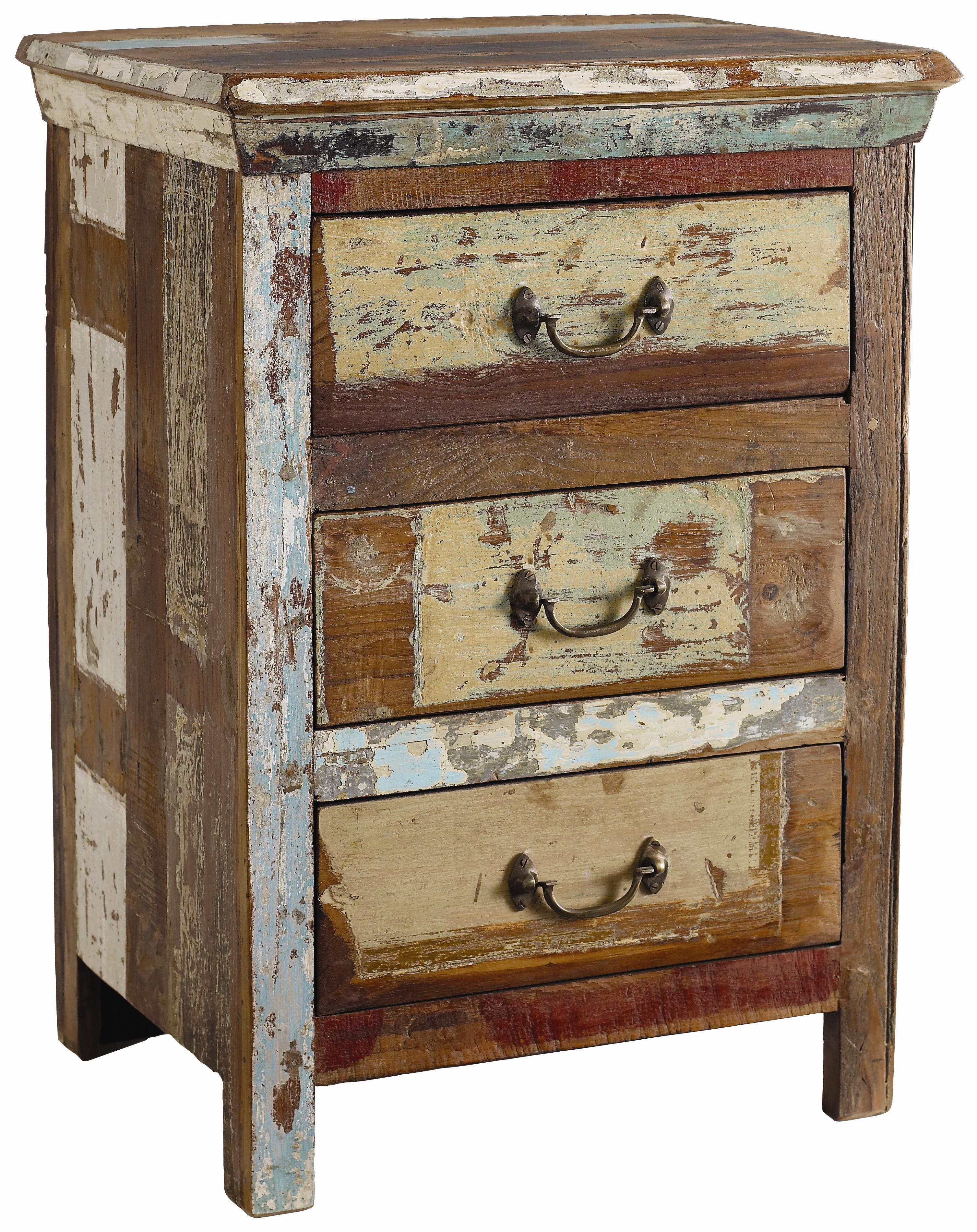 Classic home vintage reclaimed wood multi color 3 drawer for Multi night stand