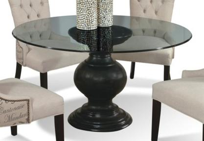 54 round glass dining table with pedestal base for Dining room table pedestal bases