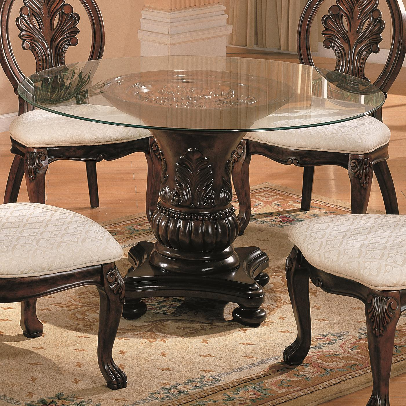 coaster tabitha 101030 cb48rd traditional round dining table with glass top dunk bright. Black Bedroom Furniture Sets. Home Design Ideas