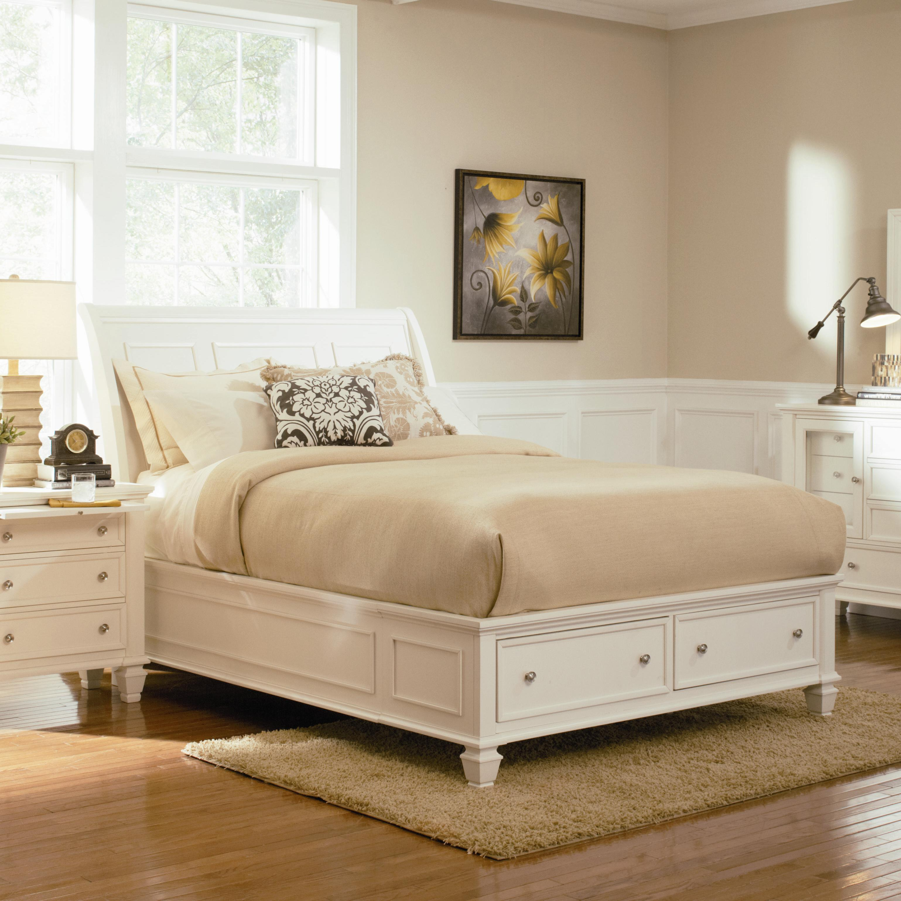 Coaster Sandy Beach Queen Sleigh Bed With Footboard Storage Dream Home Furniture Sleigh Beds