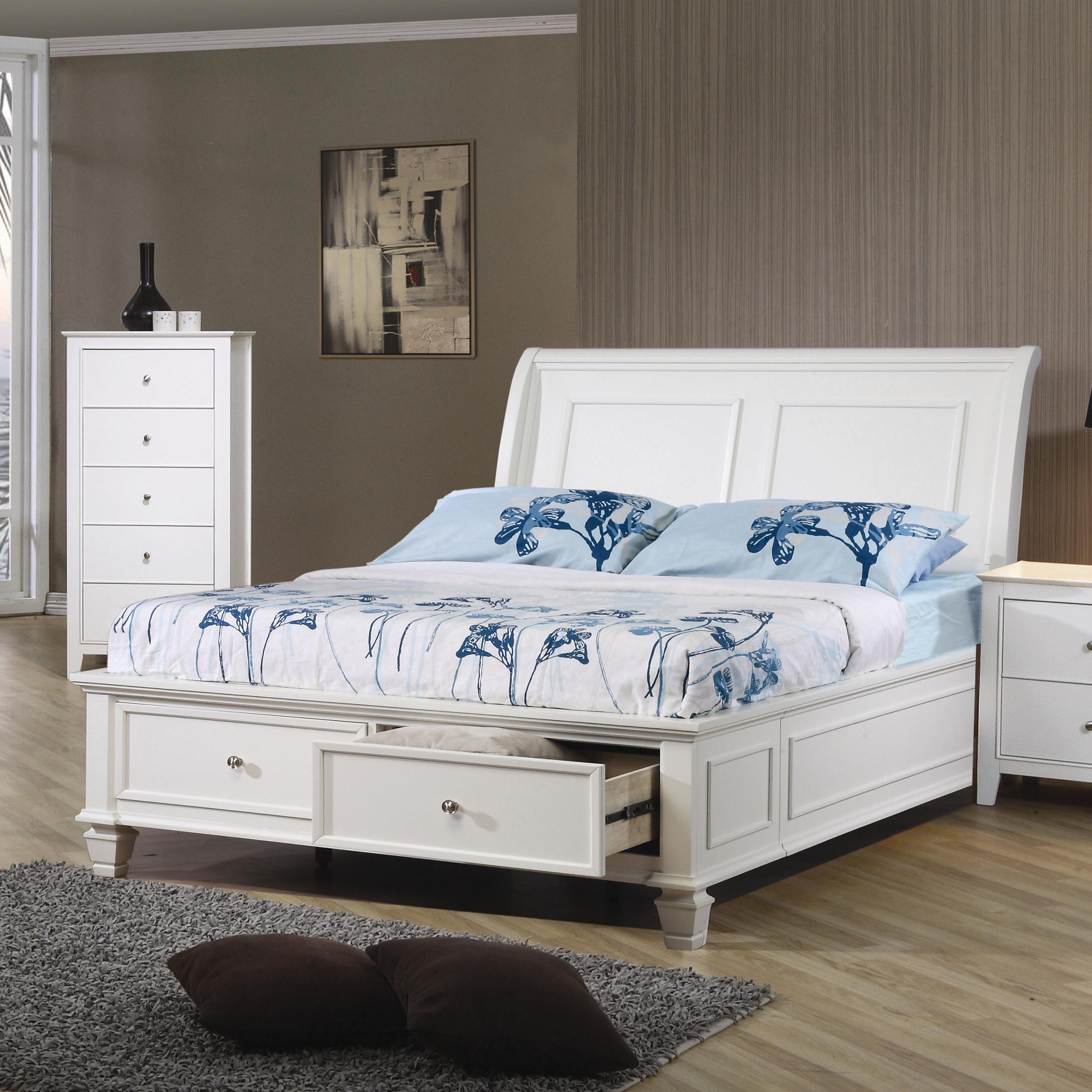 Coaster Sandy Beach 400239t Twin Sleigh Bed With Footboard Storage Dunk Bright Furniture