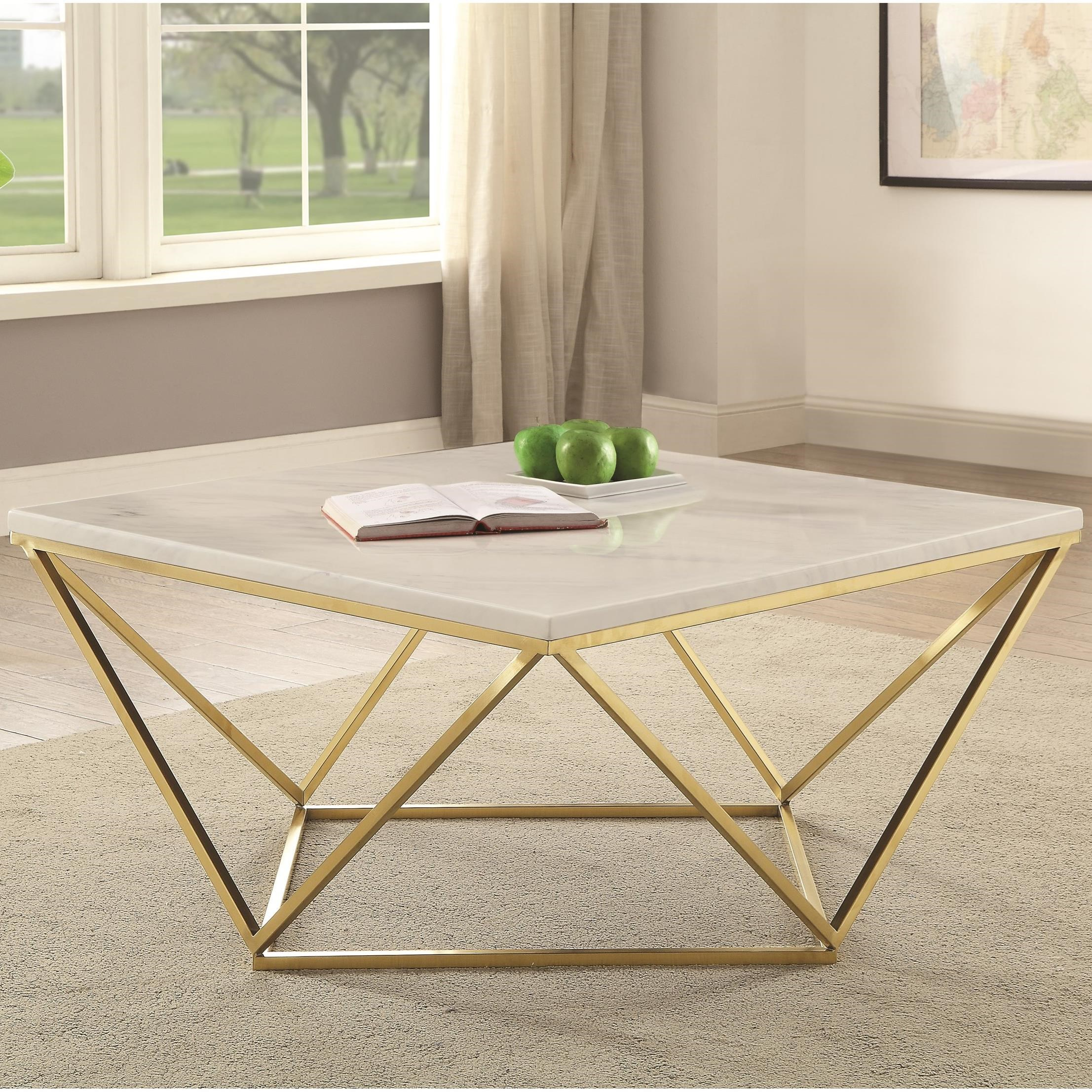 Coaster 700846 700846 Contemporary Faux Marble Coffee Table Del Sol Furniture Cocktail