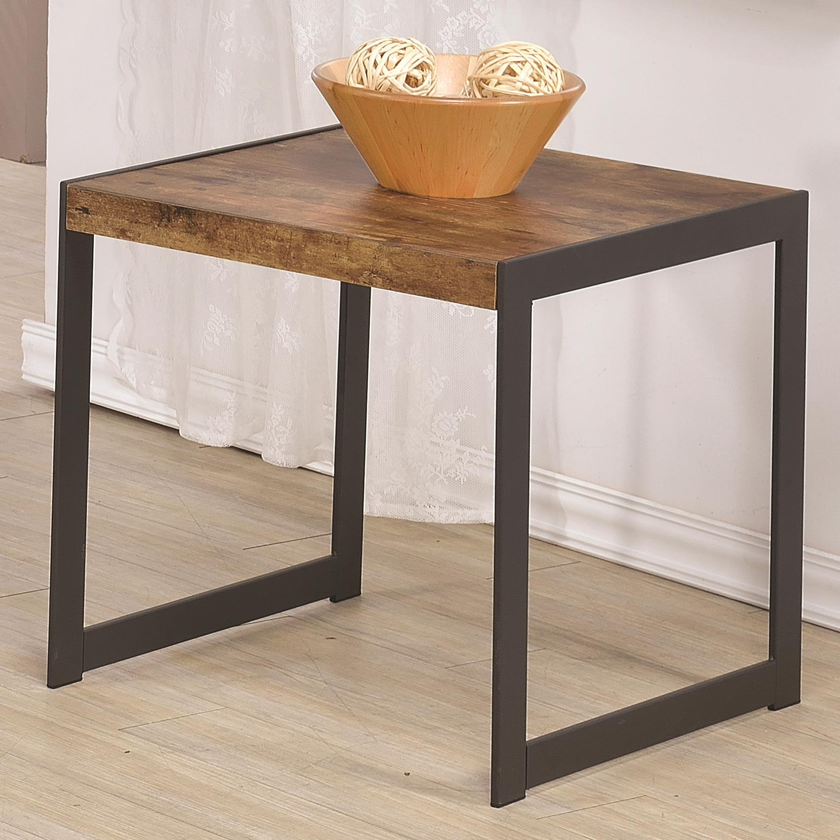 Coaster 70402 704027 rustic end table w metal base dunk for Bright colored side tables