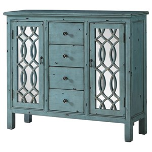 Coaster Accent Cabinets Large Teal Cabinet With 4 Glass