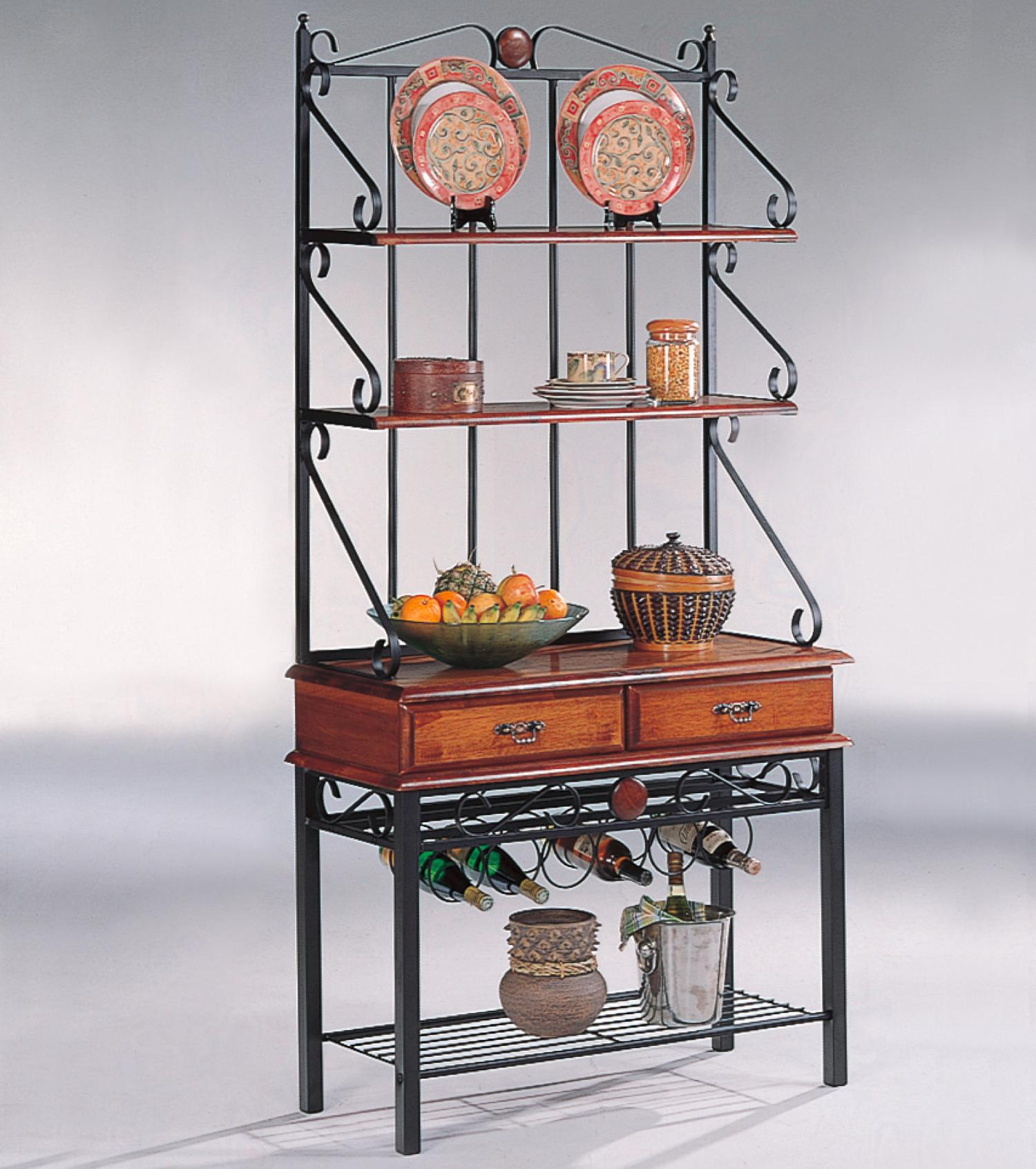 Coaster Accent Racks 3 Shelf Kitchen Cabinet With Wine Rack Value City Furniture Baker 39 S Racks