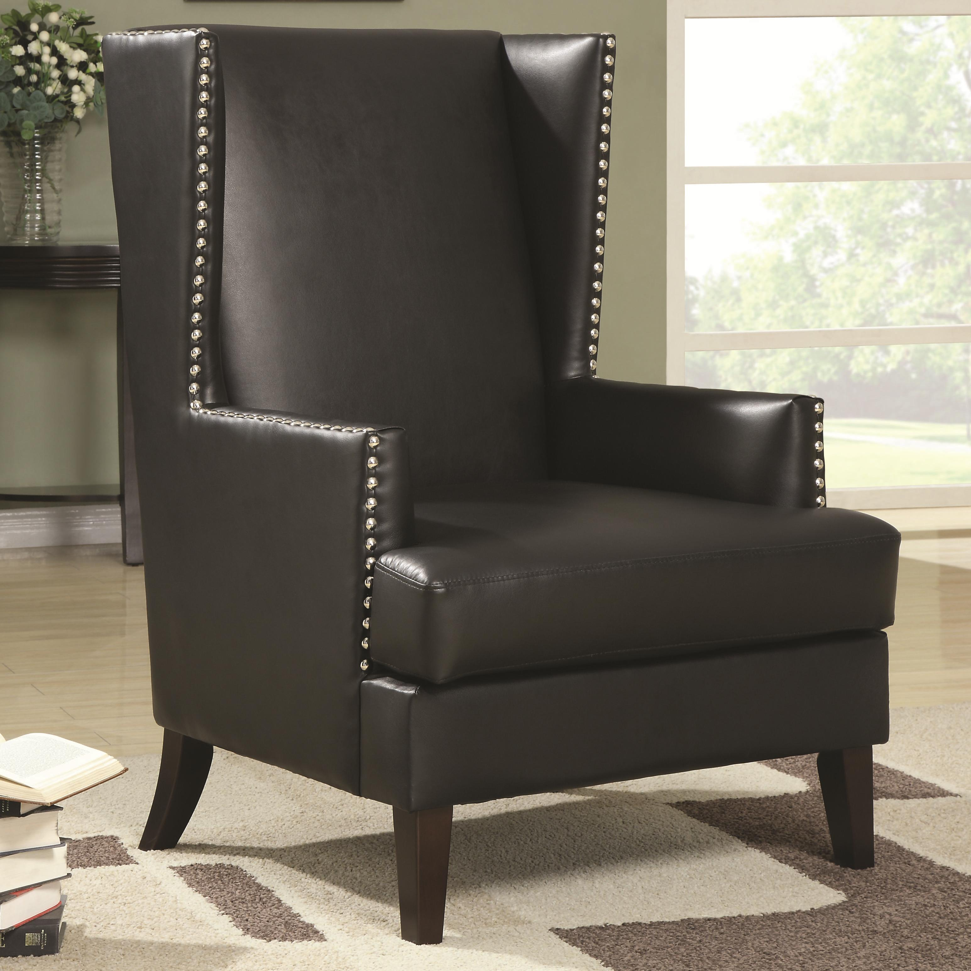 Coaster Accent Seating Wing Back Accent Chair In Transitional Furniture Style With Nail Head