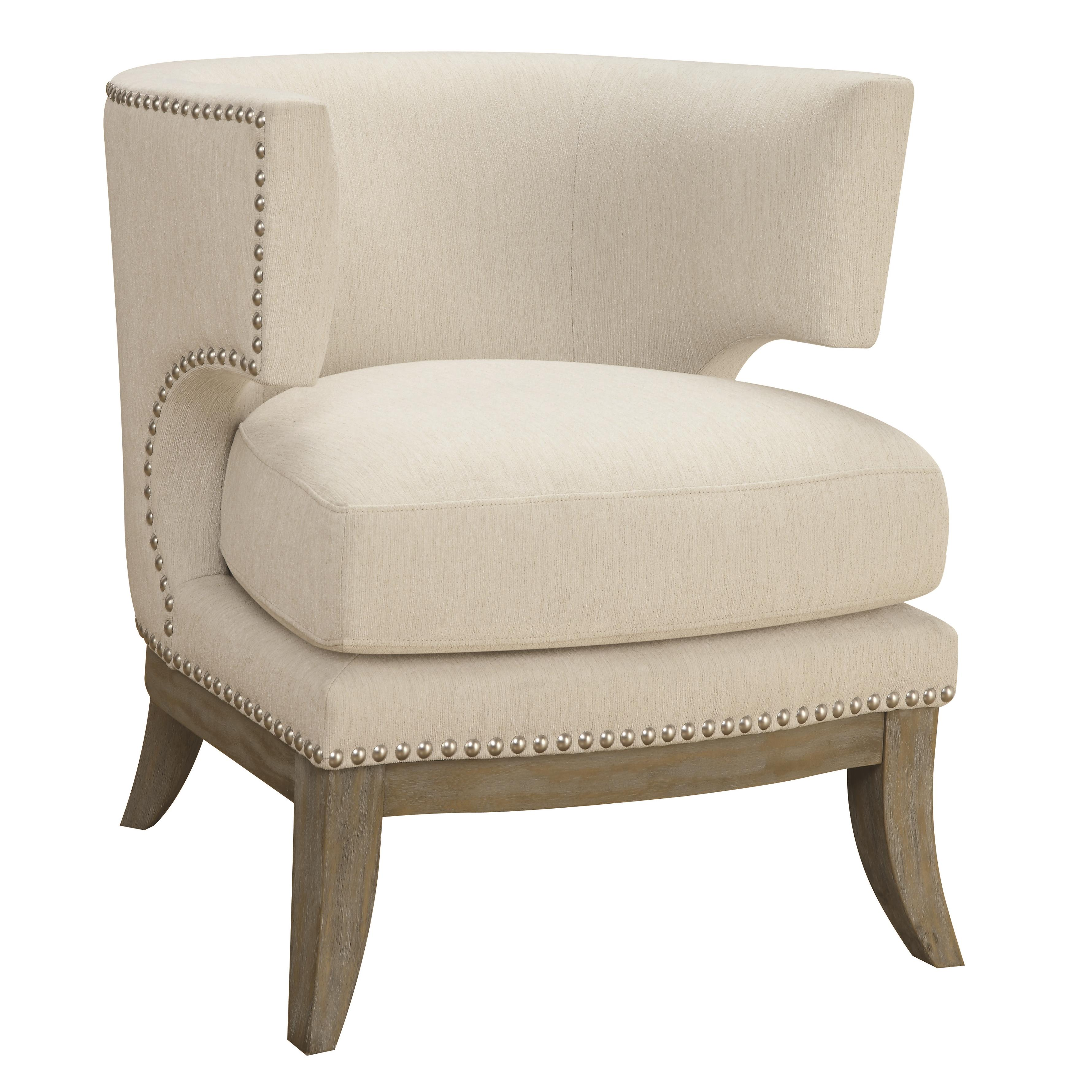 Coaster Accent Seating Barrel Back Upholstered Accent Chair Dream Home Furniture Upholstered