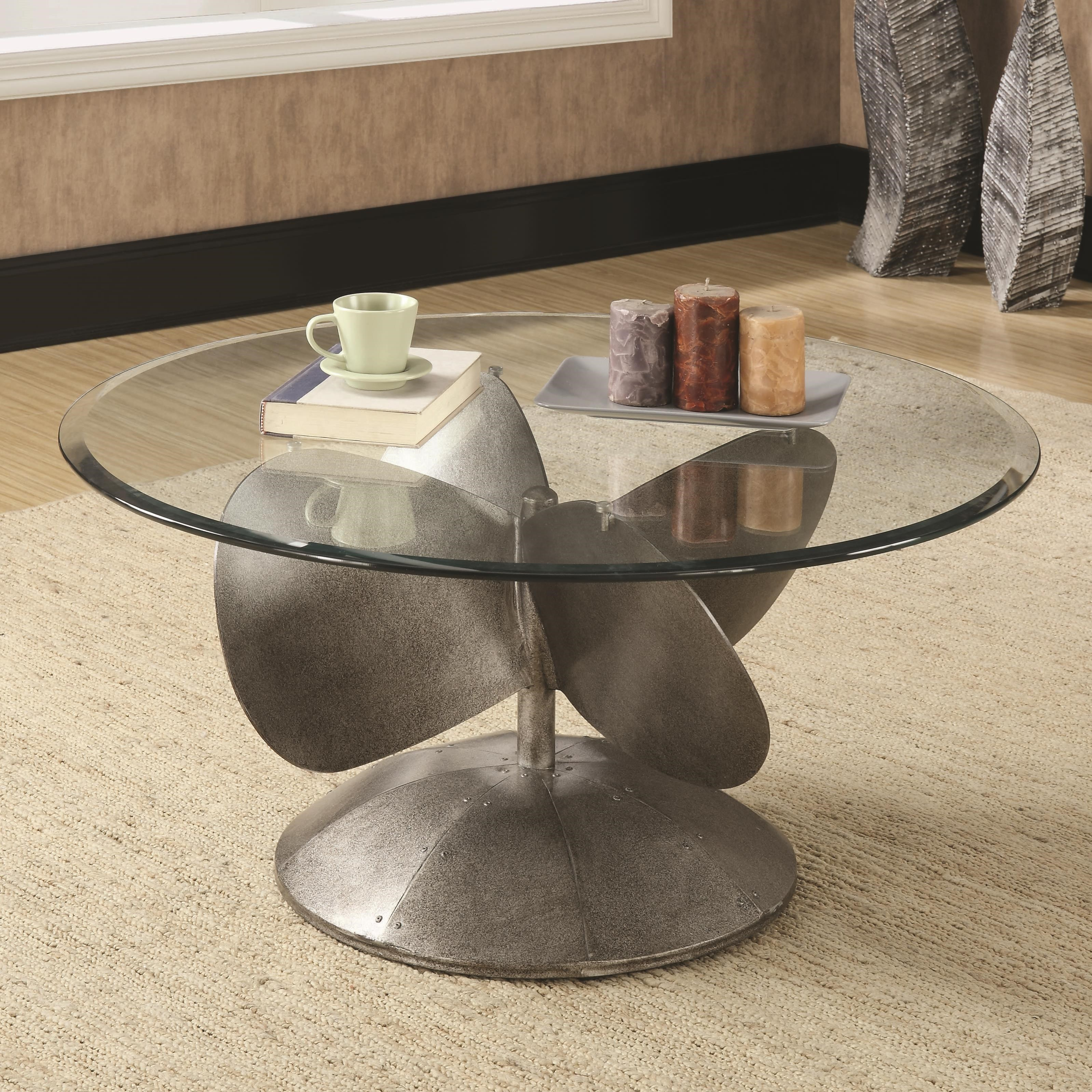 Coaster Accent Tables 704558 Industrial Coffee Table With Propeller Base Dunk Bright