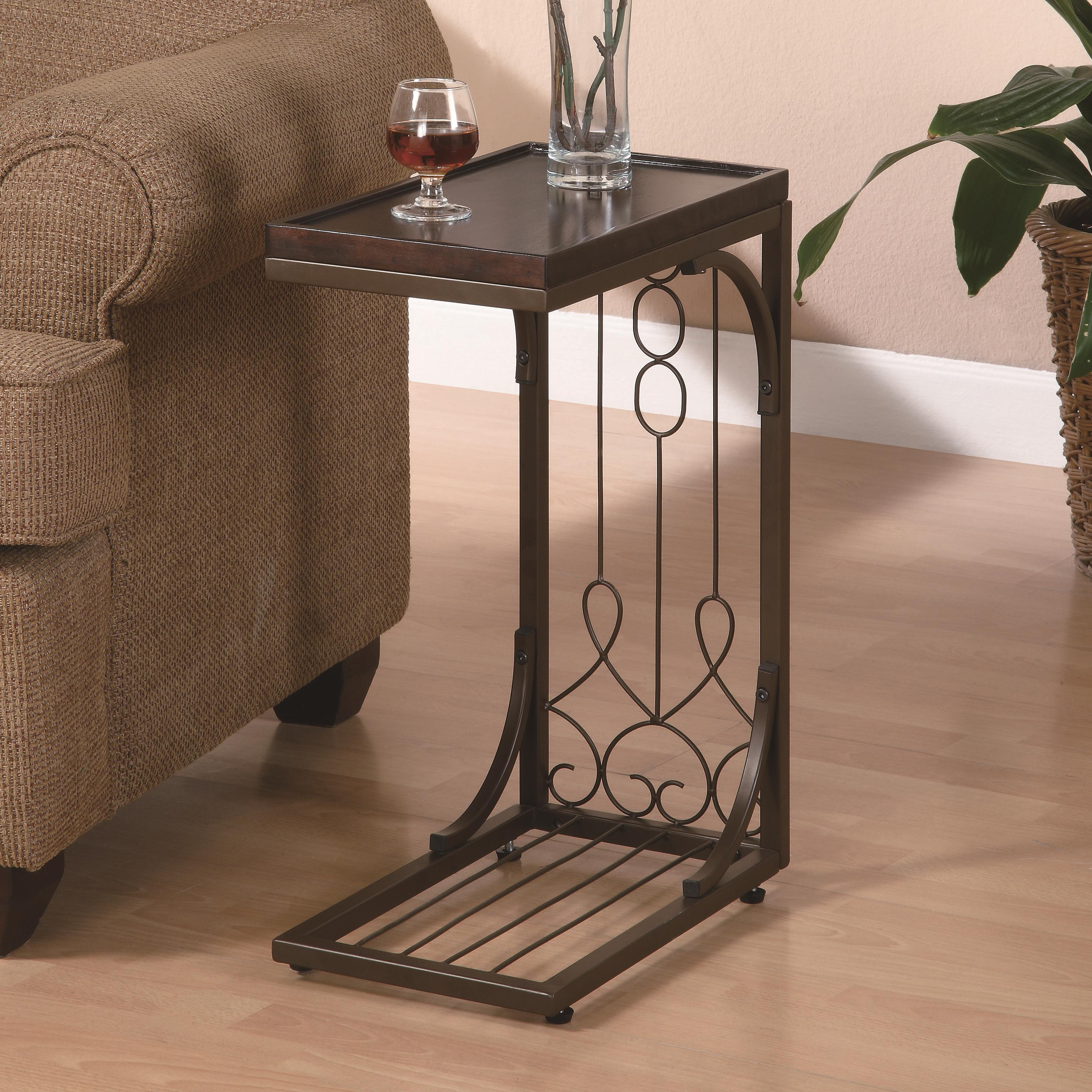 Coaster accent tables 900280 small brown snack table with for Bright colored side tables